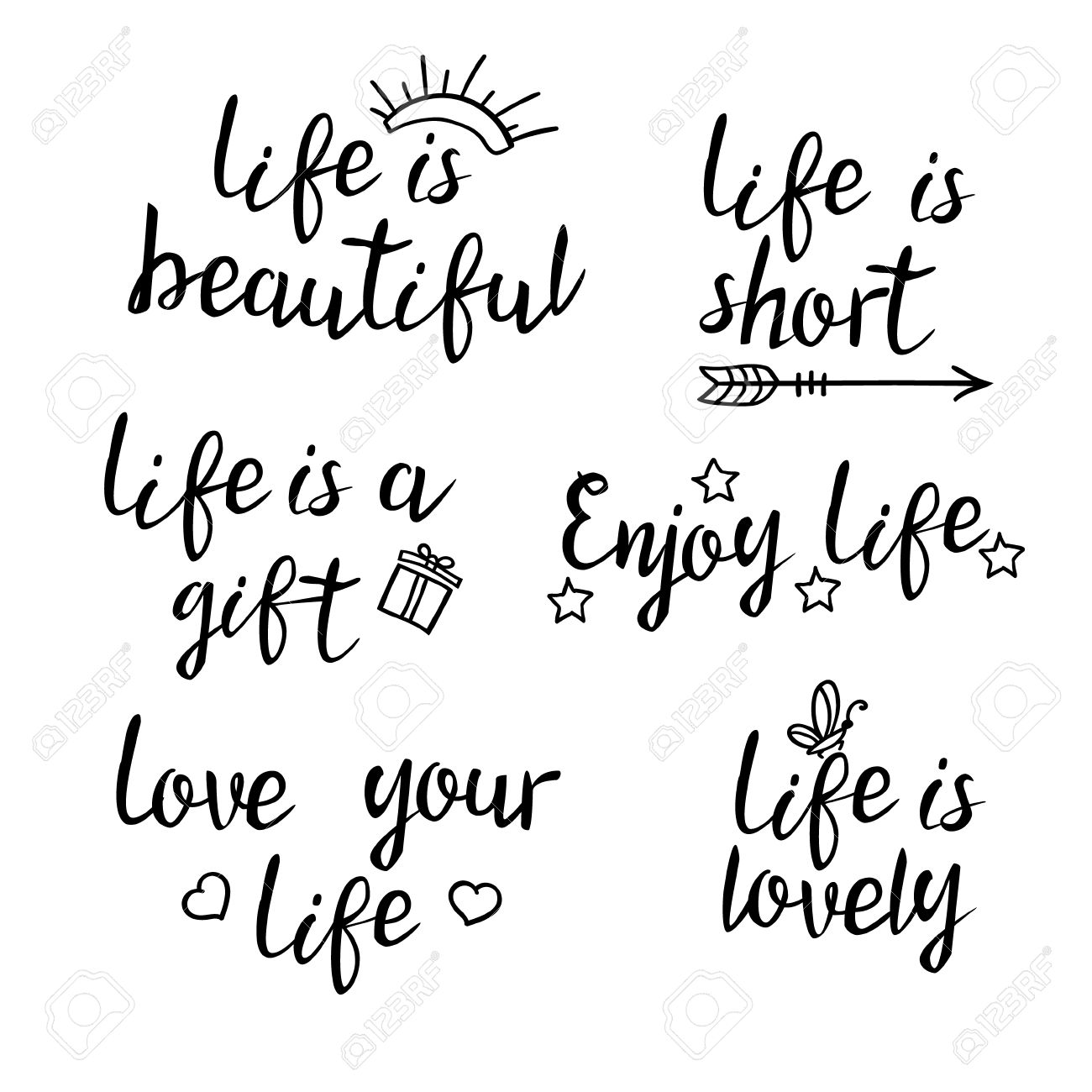 Short Inspirational Quotes About Life Lettering Life Quotescalligraphy Inspirational Quote About