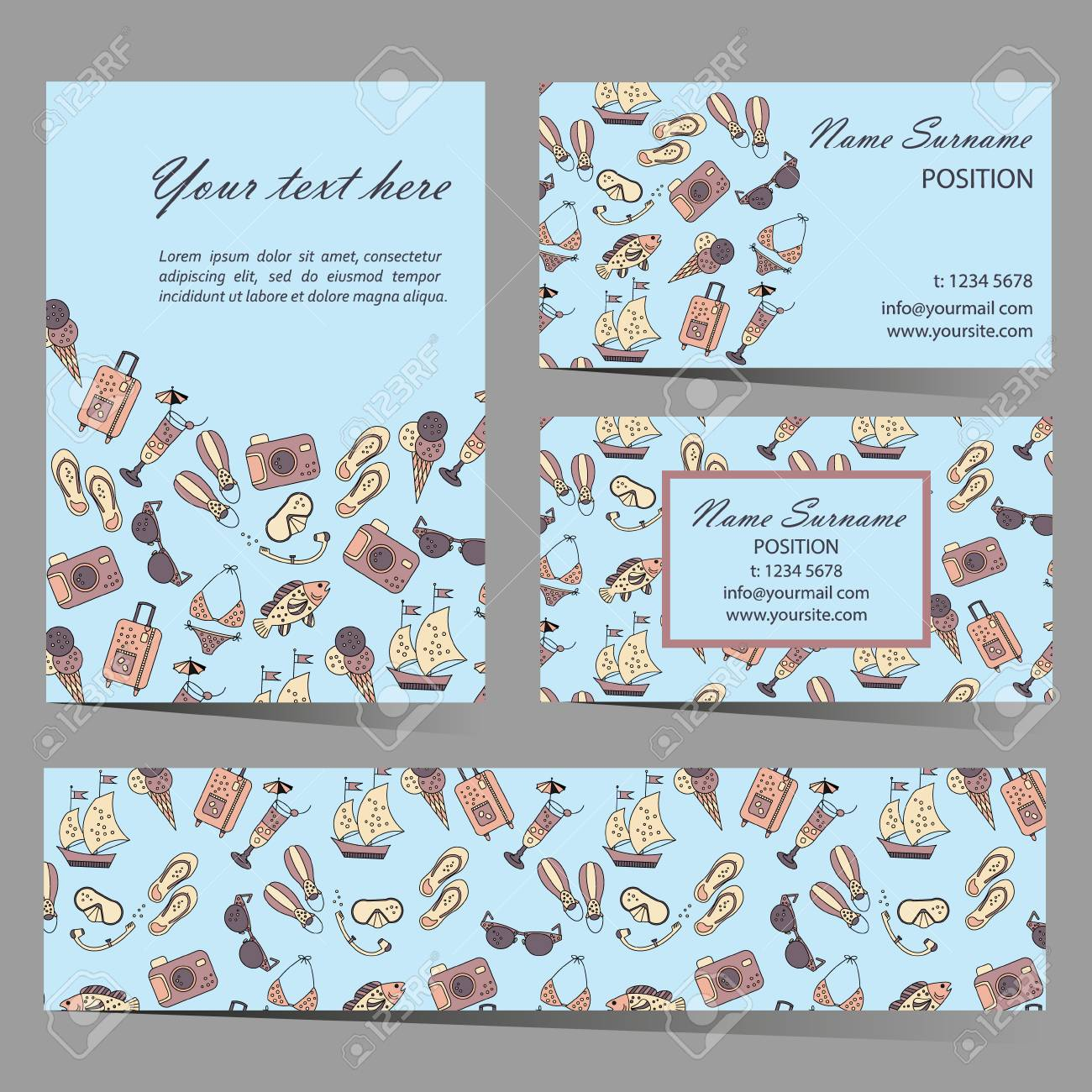 Summer beach card set for different invitations, voucher, coupon