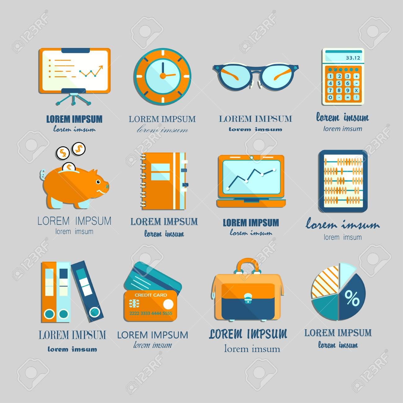 Bookkeeping Vector Flat Icons. Finance, Accounting And Auditing ...
