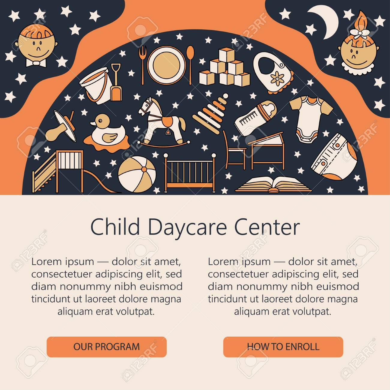 Baby cribs for daycare centers - Child And Baby Care Center Web Or Card Template With Kindergarten Vector Diaper Sandpit