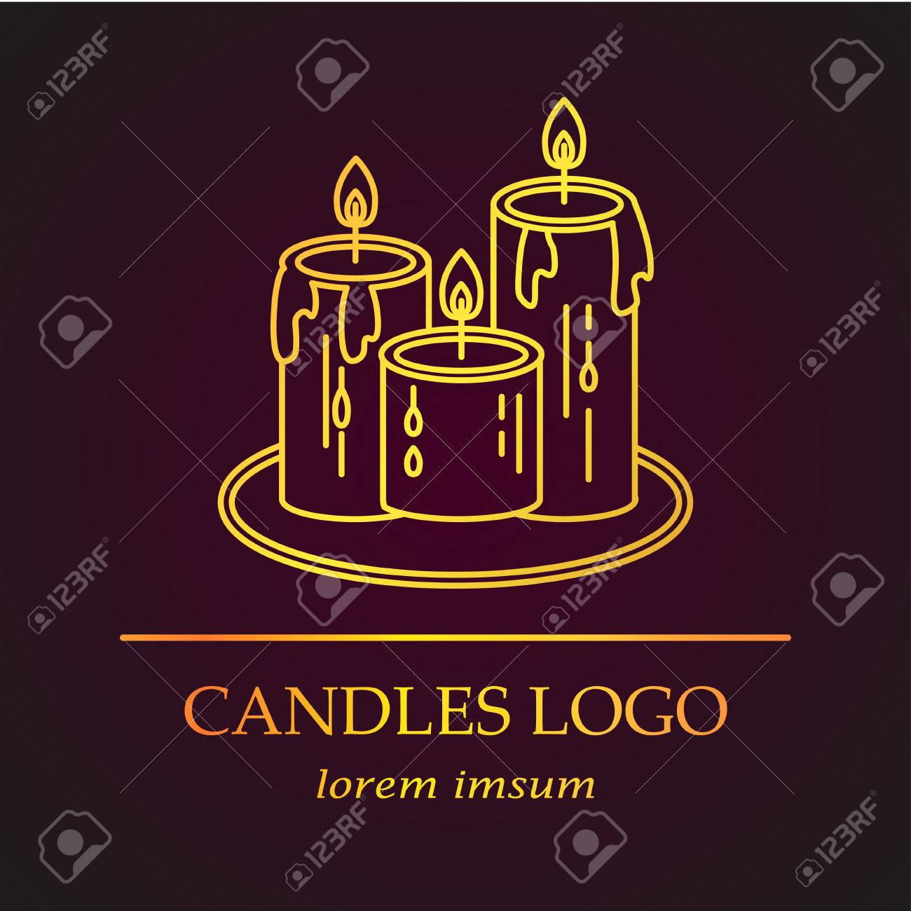 Golden Candles Vector Thin Line Icon The Symbol Of Magic