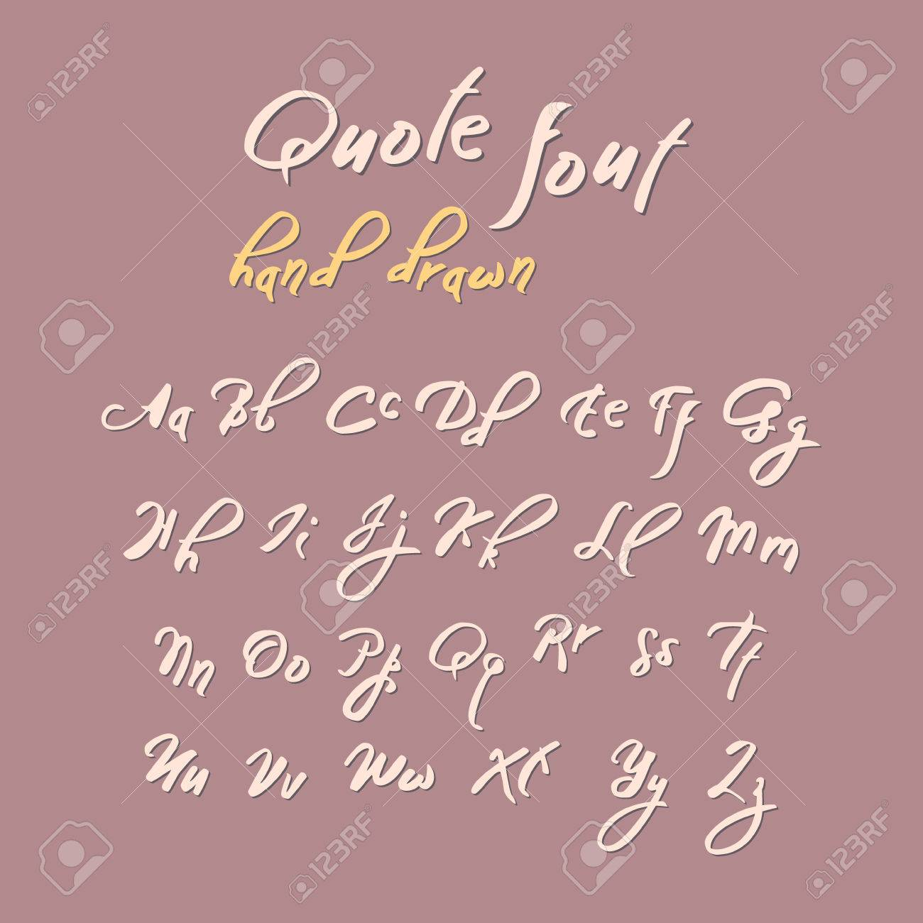 Hand Drawn Modern Script Quote Font Handwritten Alphabet For