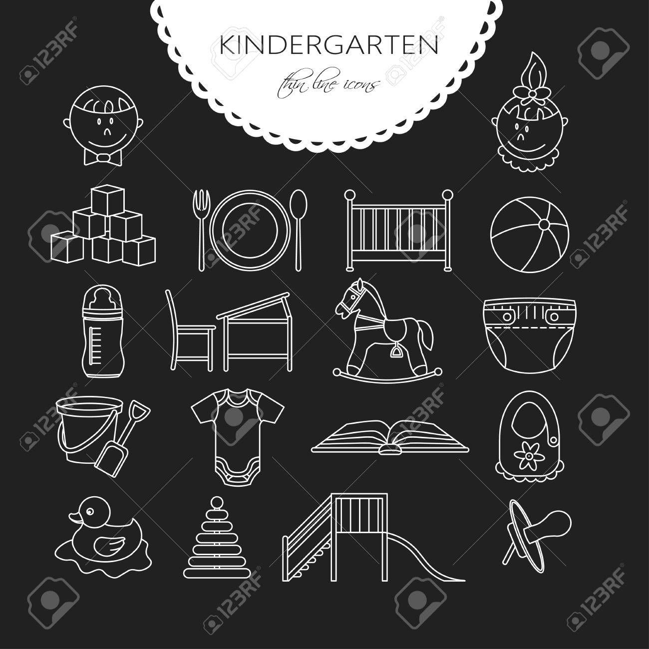 Baby cribs for daycare centers - Child And Baby Care Center Thin Line Icons Kindergarten Vector Diaper Sandpit