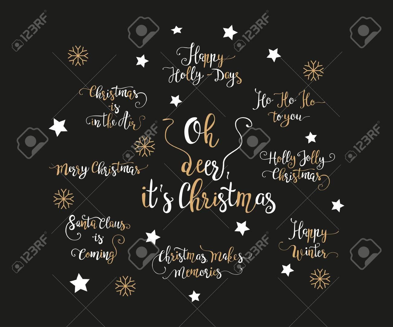 Weihnachtsbilder Und Videos.Set Of Handdrawn Christmas Lettering Unique Calligraphy Xmas
