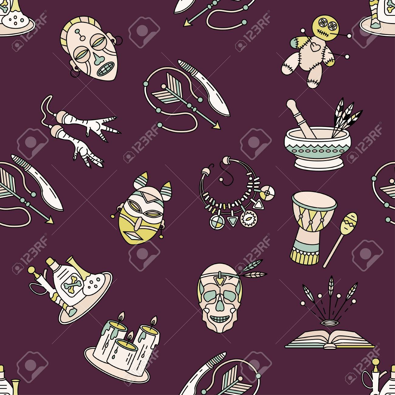 Seamless pattern with voodoo African and American magic vector
