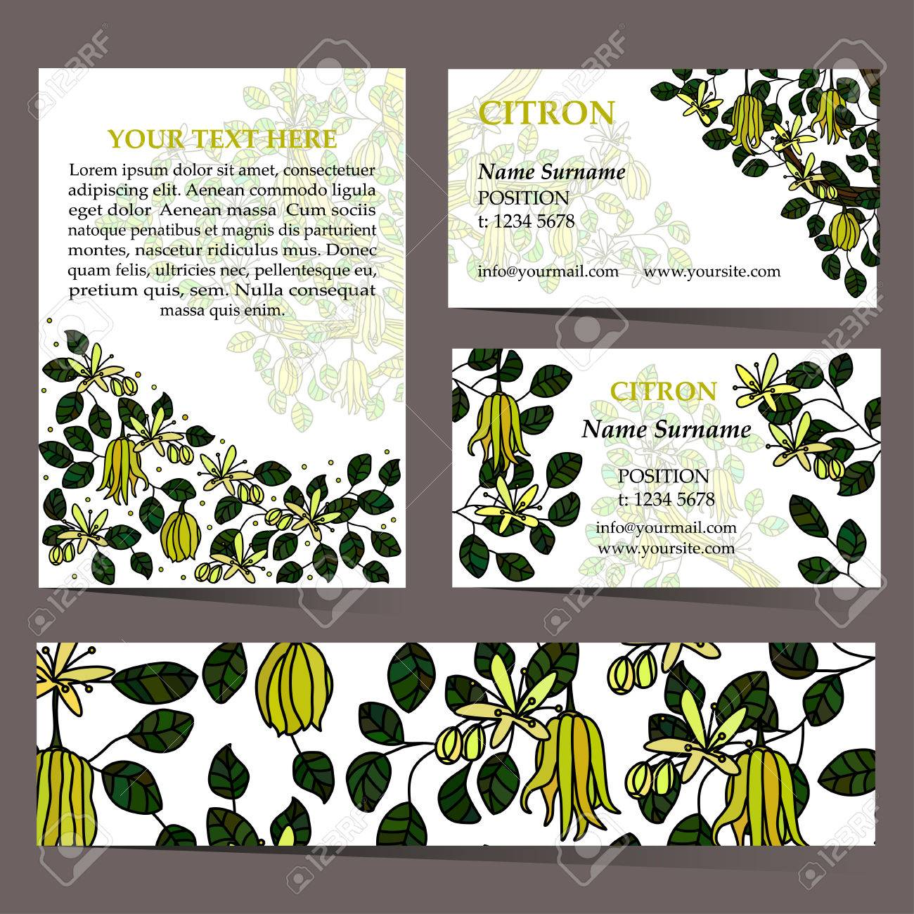 Tropical card set for different invitations, voucher, coupon