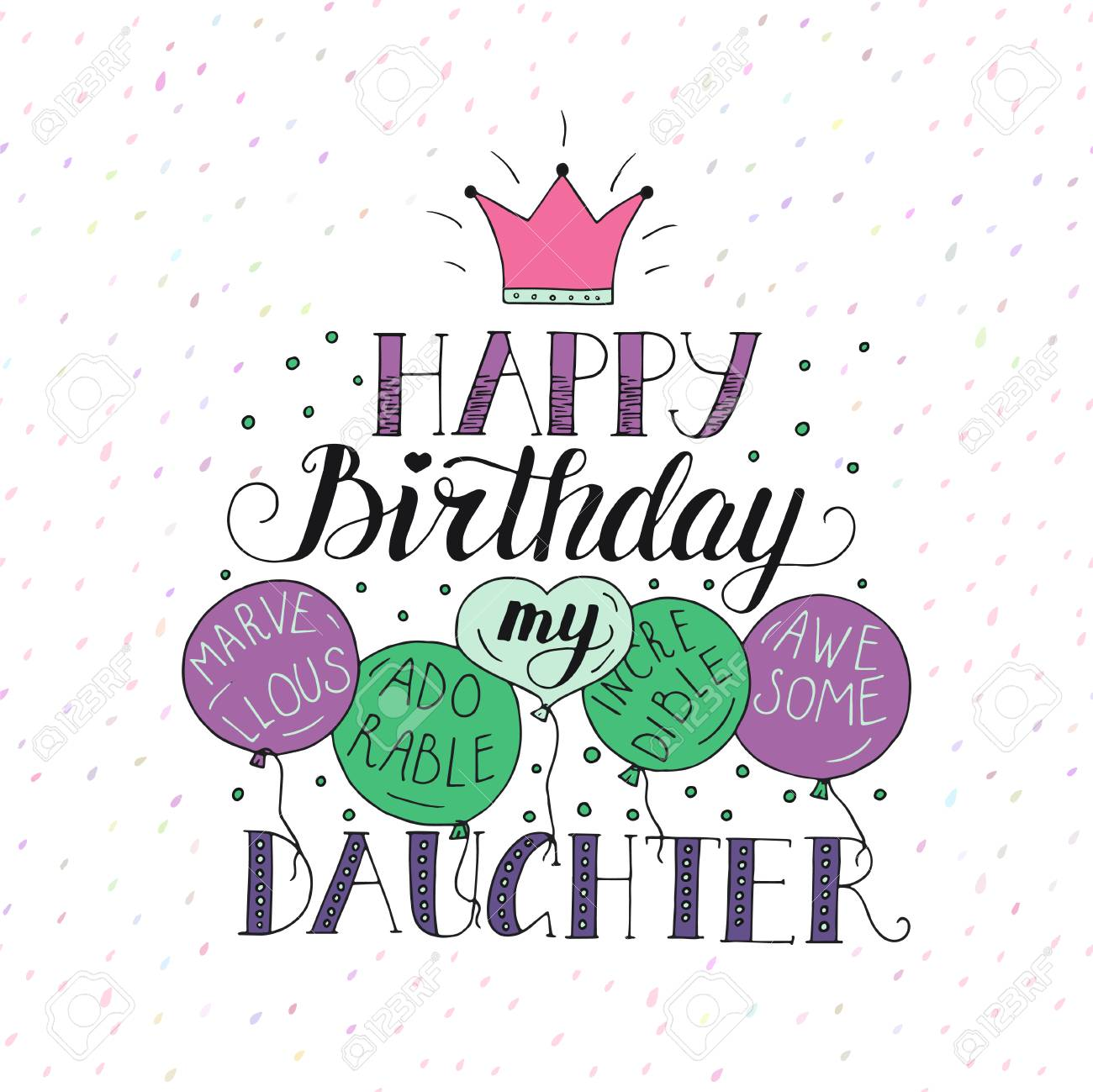 Color Vector Birthday Card For Daughter Unique Lettering Poster