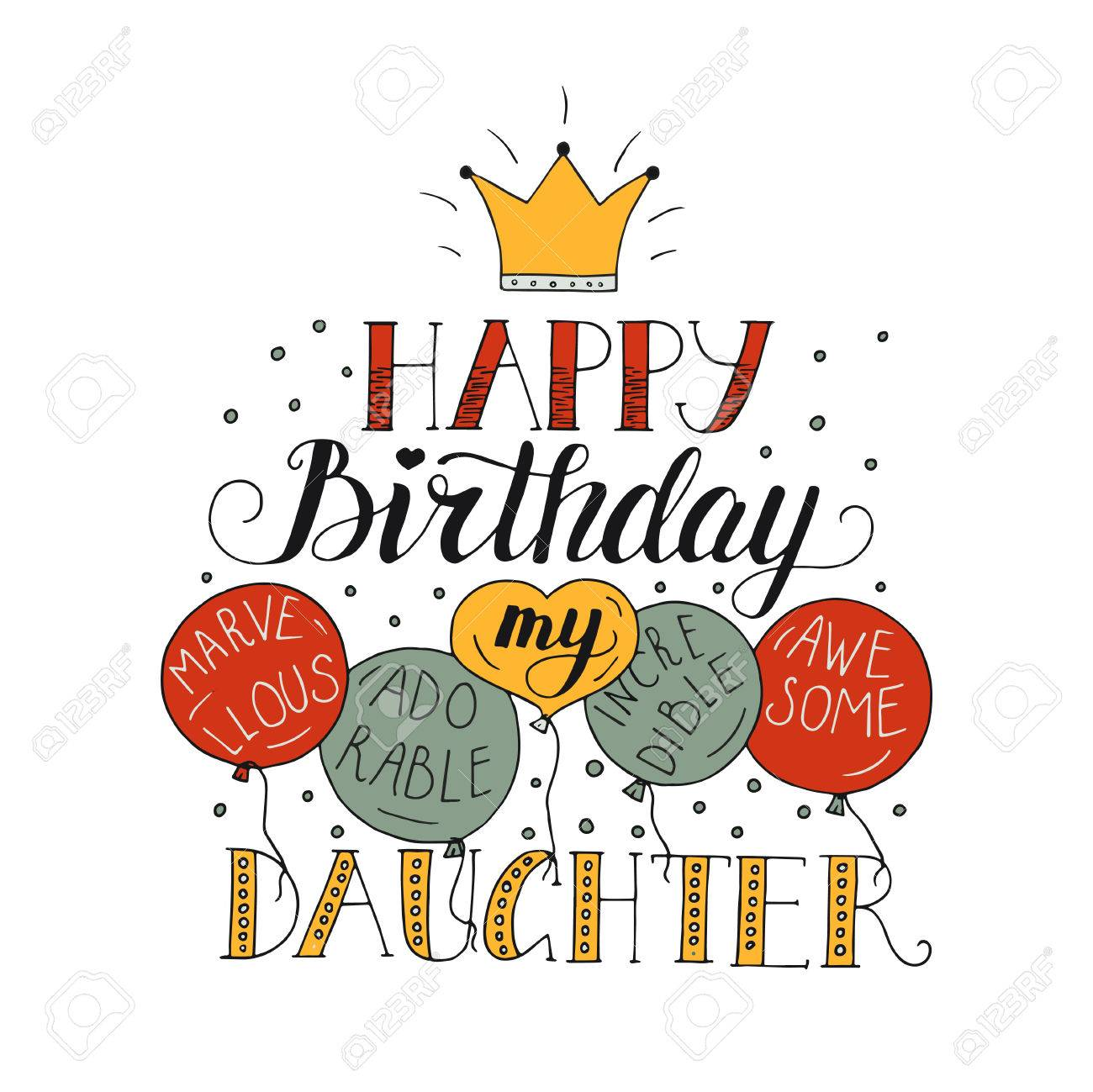 Color Vector Birthday Card For Daughter Royalty Free Cliparts