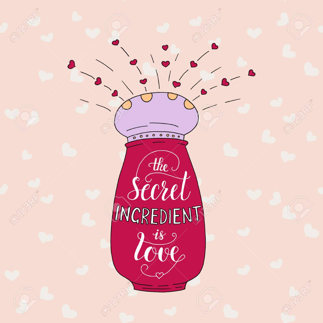 Cartel De Letras únicas Con Una Frase El Ingrediente Secreto Es El Amor