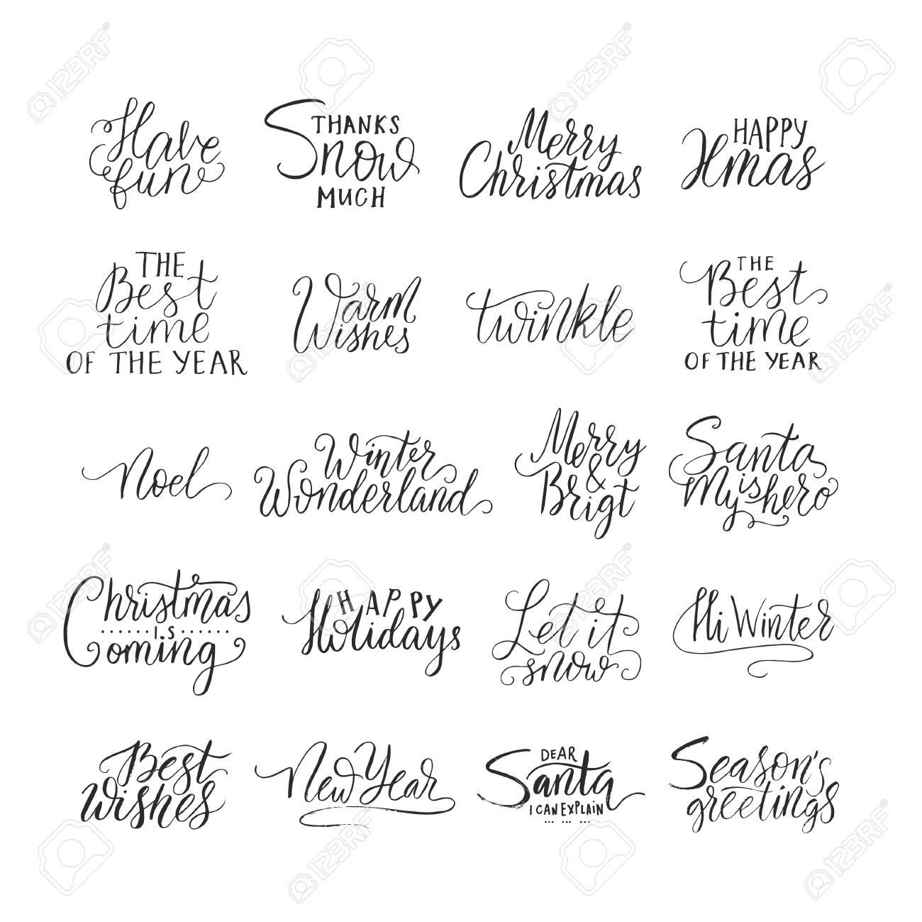メリー クリスマス ブラシ レタリング タイポグラフィ。冬の手描き文字で手書きテキスト デザイン。新年レタリング  セット。ベクトルのロゴ、エンブレム、テキスト デザイン。バナー、グリーティング カード、ギフトなどが可能です。