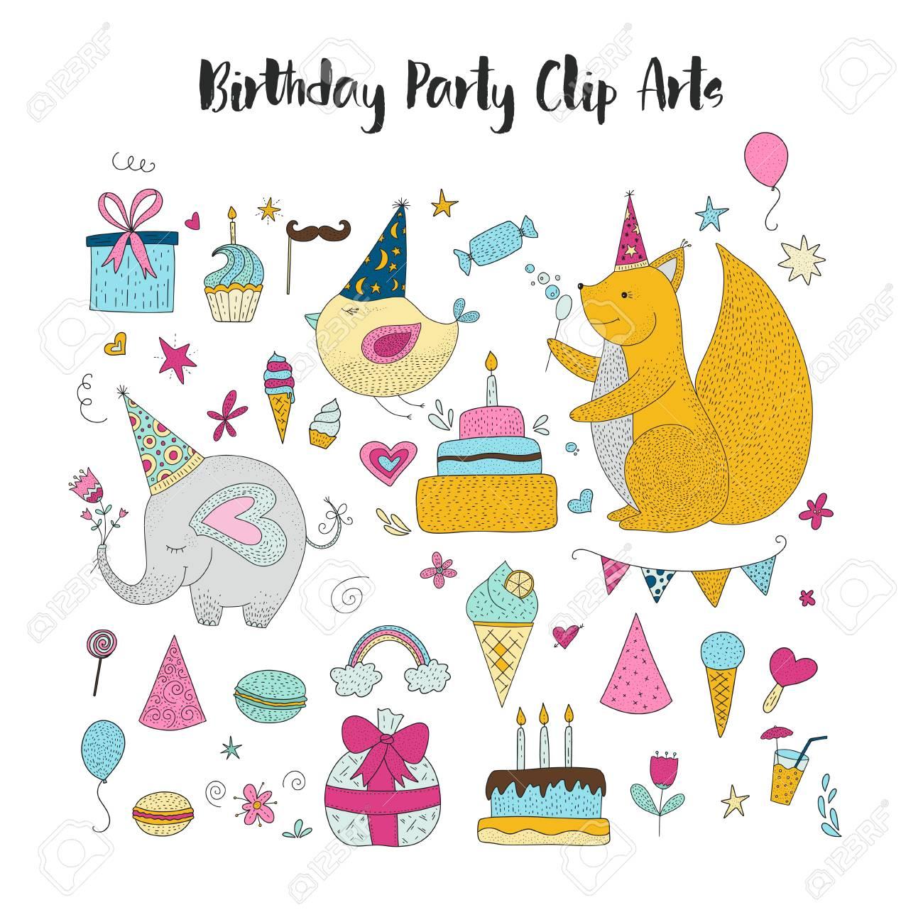 Big Set Of Birthday Party Vector Clip Arts Cute Hand Drawn Animals And Cartoon Elements