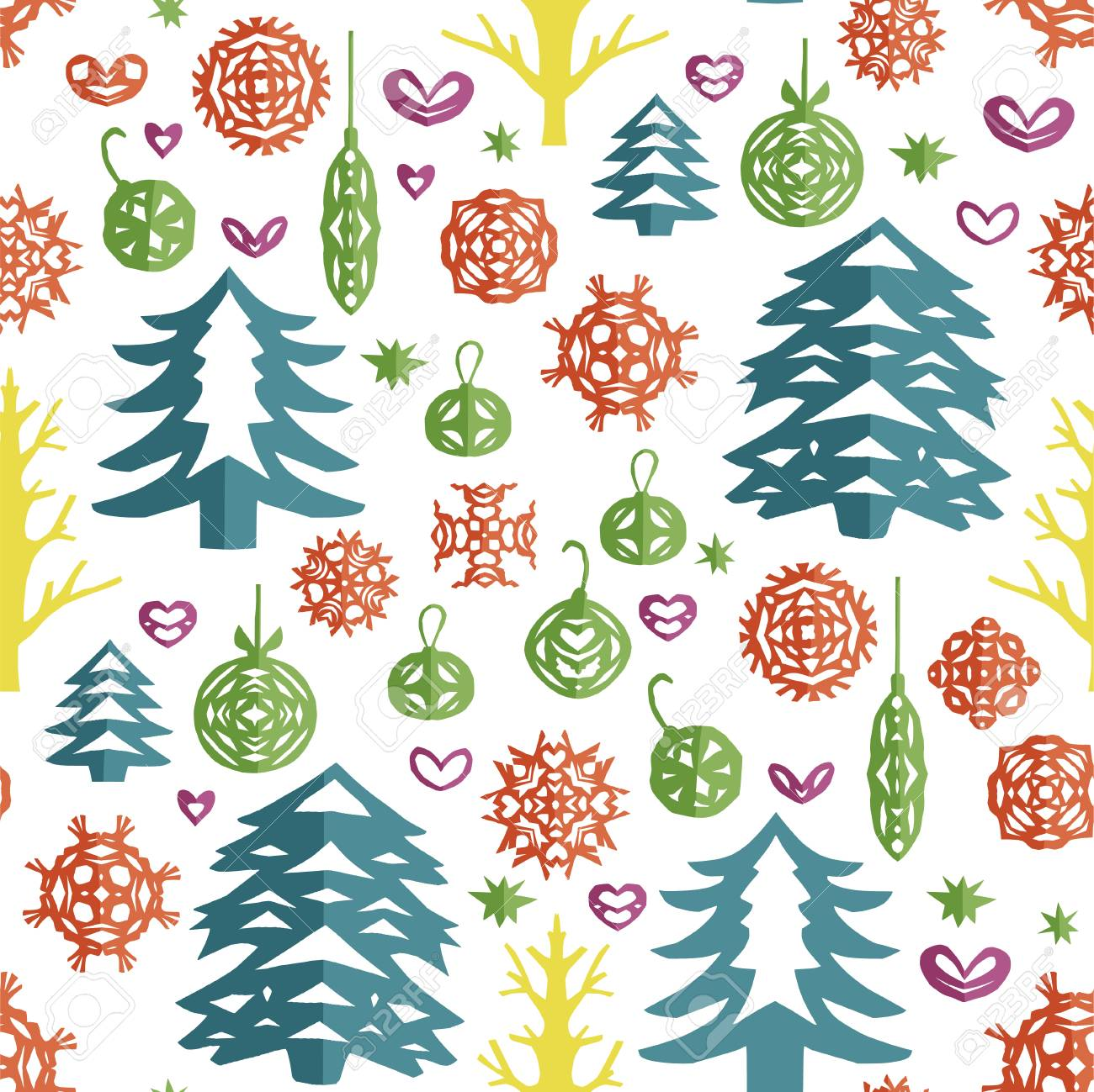 Christmas Seamless Pattern Paper Craft Design Cut Out By Scissors