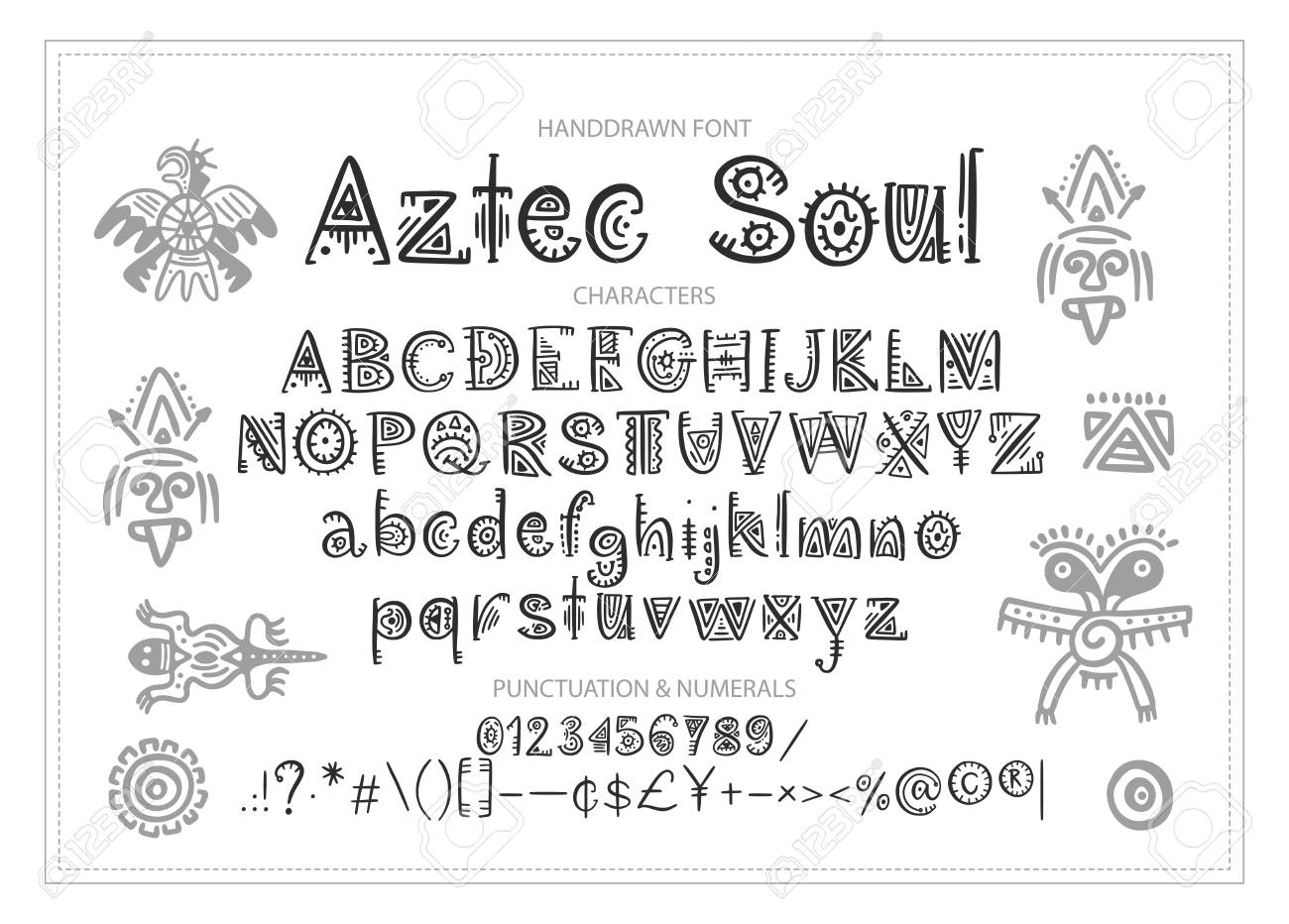 Tribal Aztec Alphabet Vector Ethnic Letters With Peru Decorations