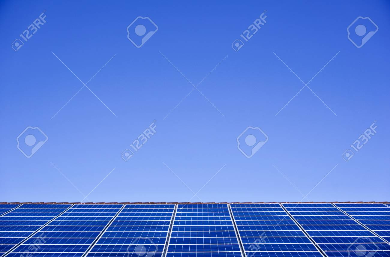 Photovoltaic panels on the roof of a supermarket with copyspace - 91996516