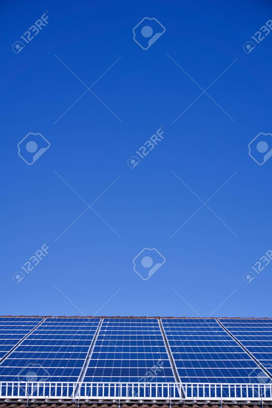 Photovoltaic panels on the roof of a supermarket with copyspace - 91942809