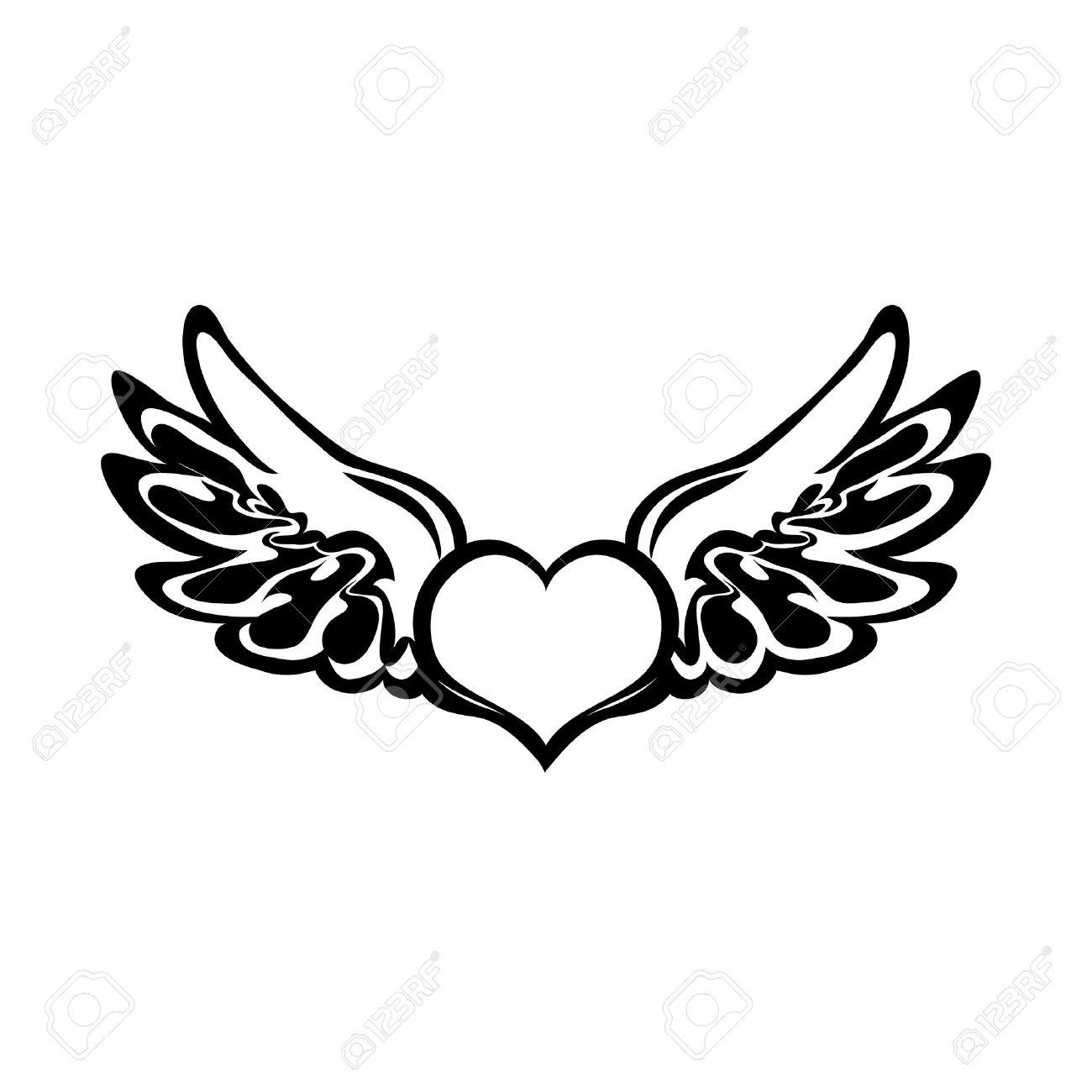 nice tatouage coeur avec ailes d ange #1: tatouage aile d ange