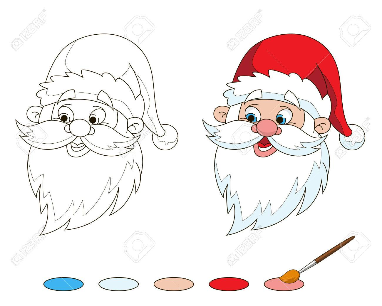 santas head coloring page stock vector 49642926