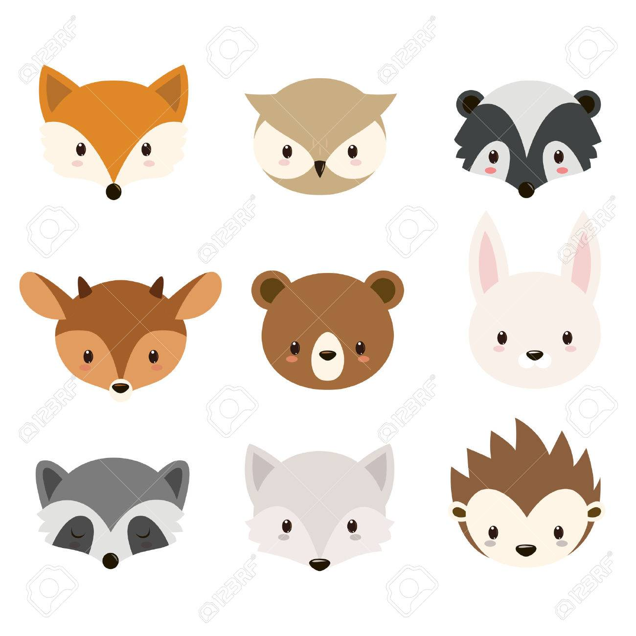 Cute Woodland Animals Collection Heads Isolated On White Background Stock Vector
