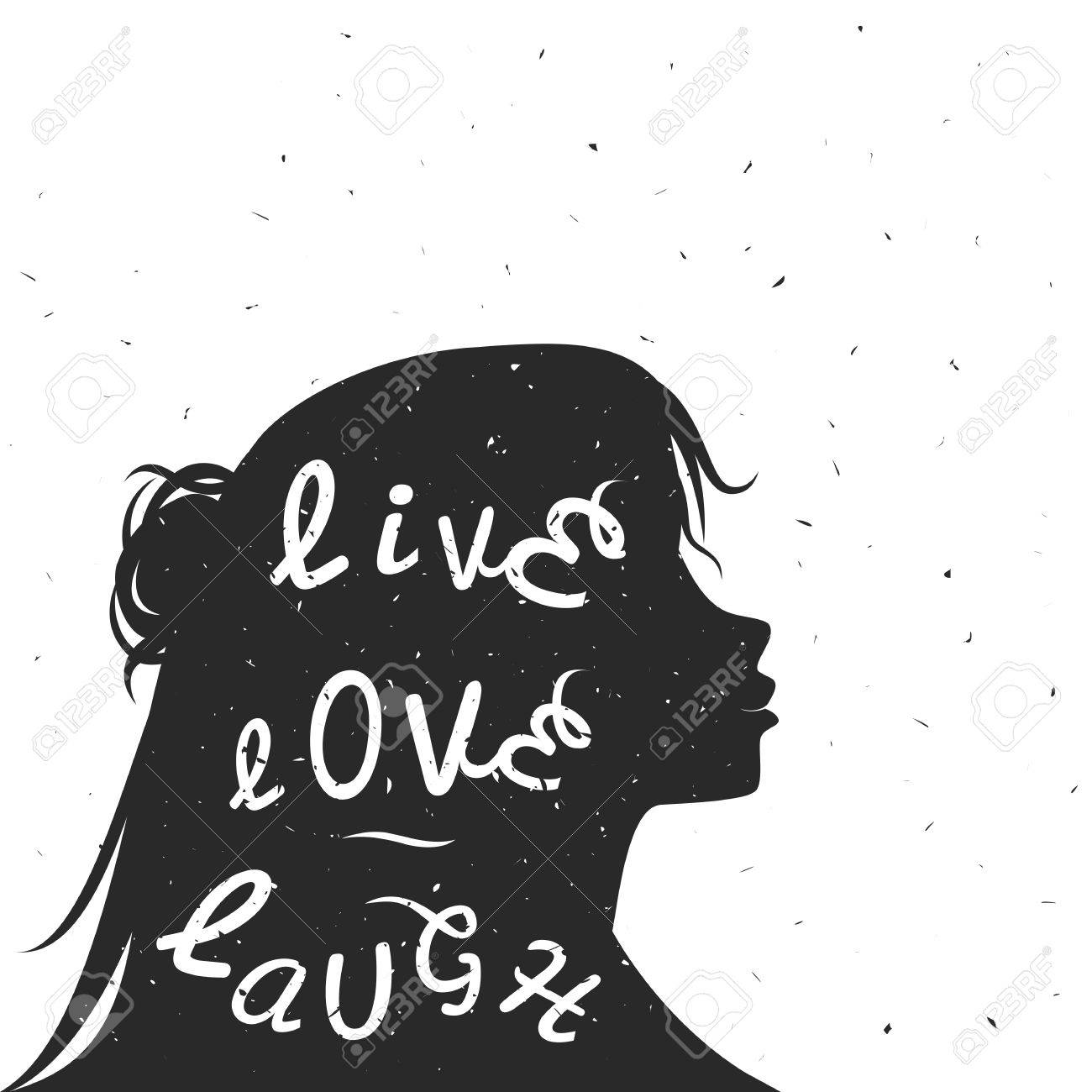 Typography Poster With Black Woman Silhouette And Quote Live