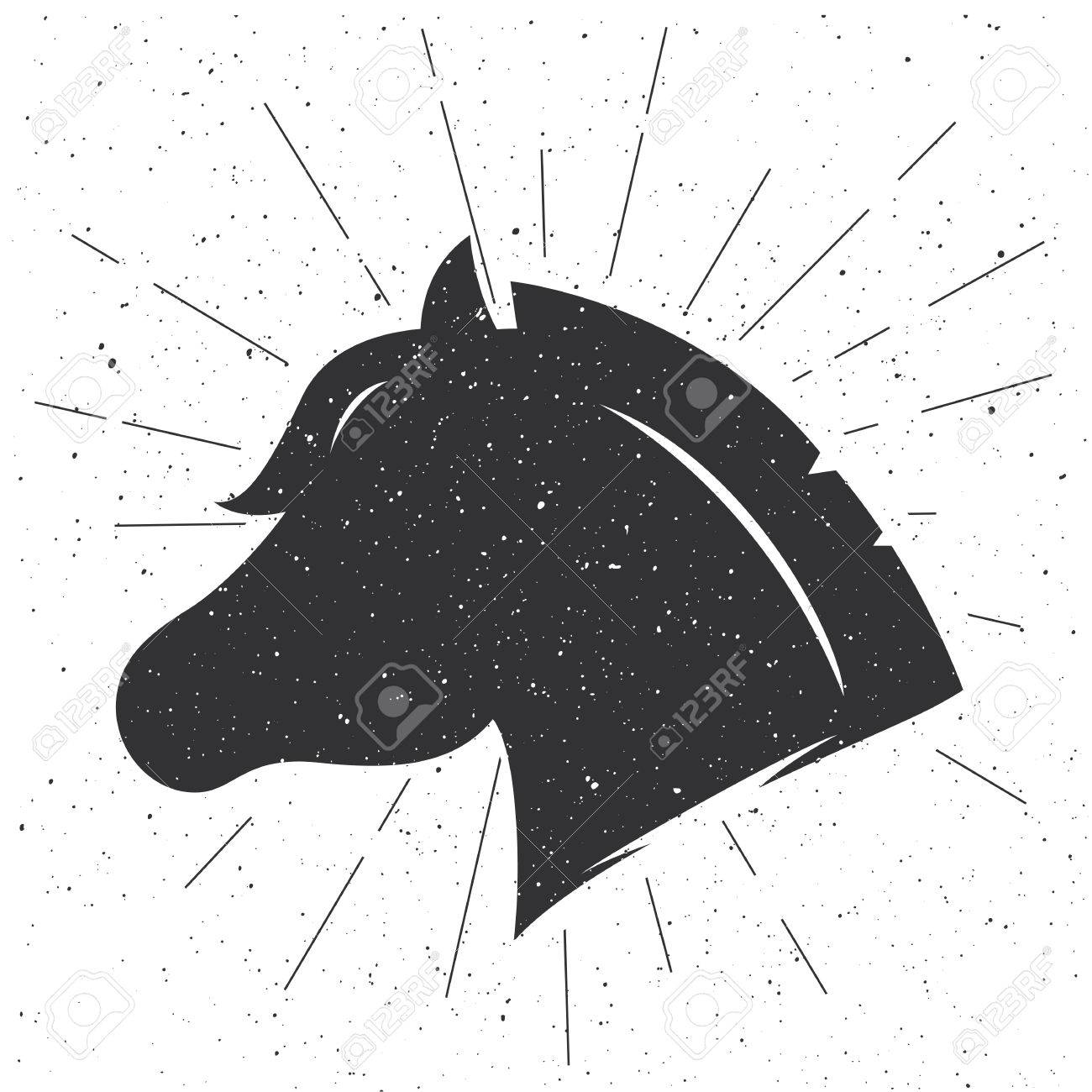 Horse Head Silhouette In Retro Style Vector Sign Isolated On White