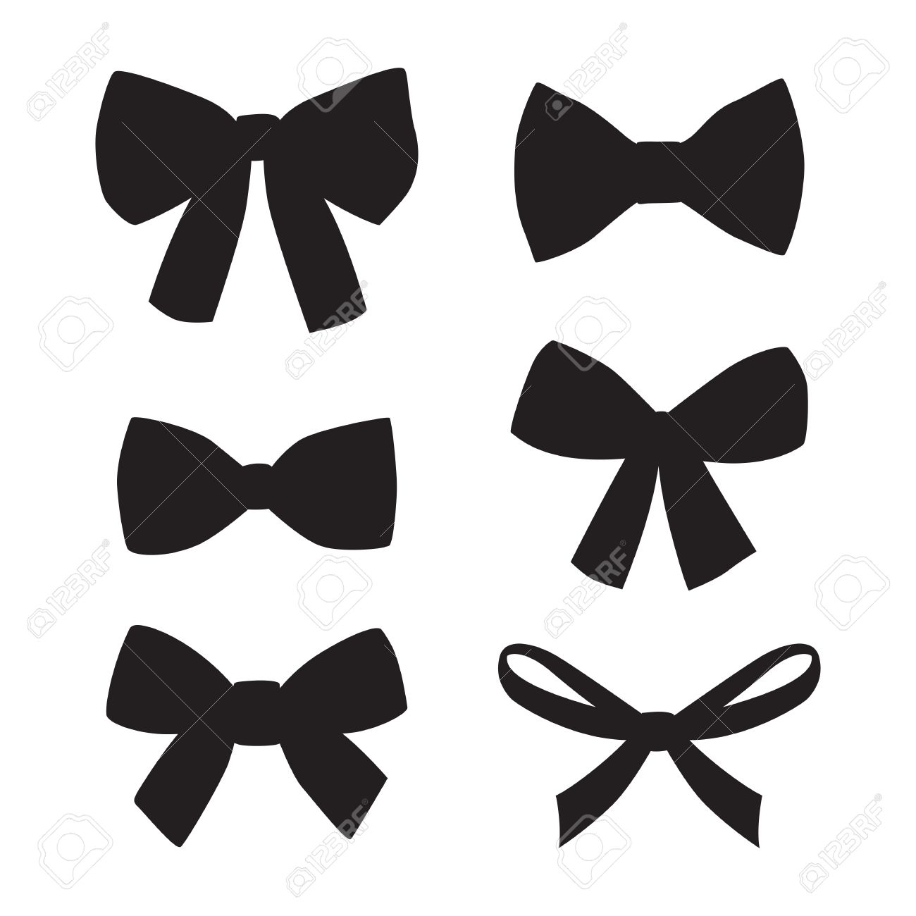 set of graphical decorative bows vector sillouettes isolated rh 123rf com bow vector png bow vector art