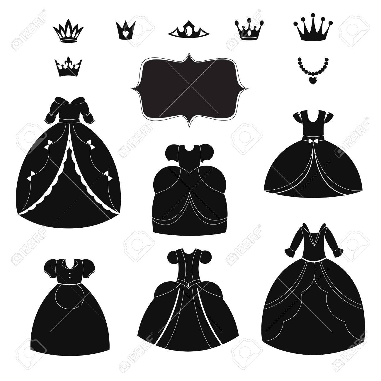 Black dress cartoon - Princess Dress Silhouettes Set Cartoon Black And White Wearable Items Stock Vector 56720706