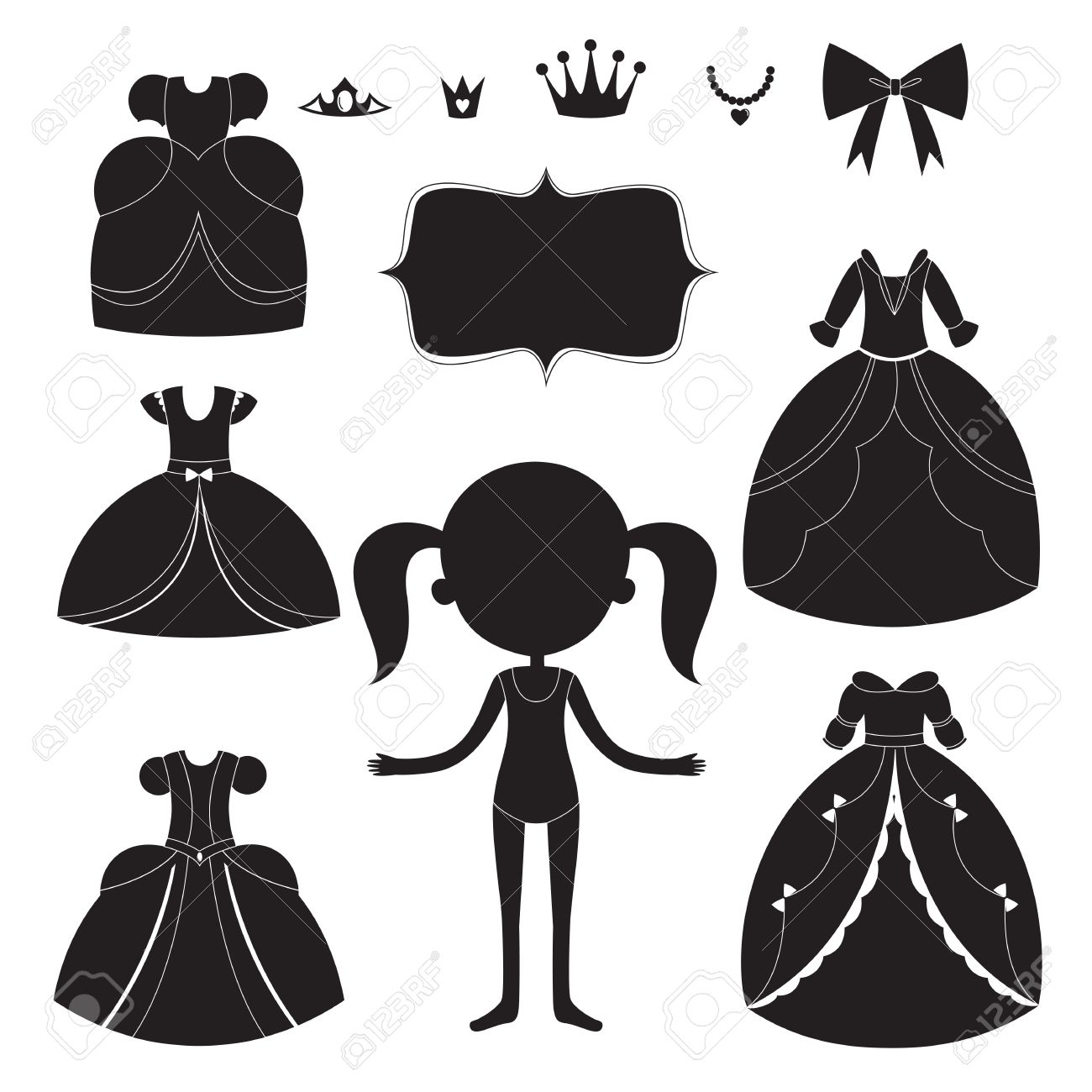 Black dress cartoon - Princess Dress Silhouettes Set Cartoon Black And White Wearable Items Stock Vector 56720704