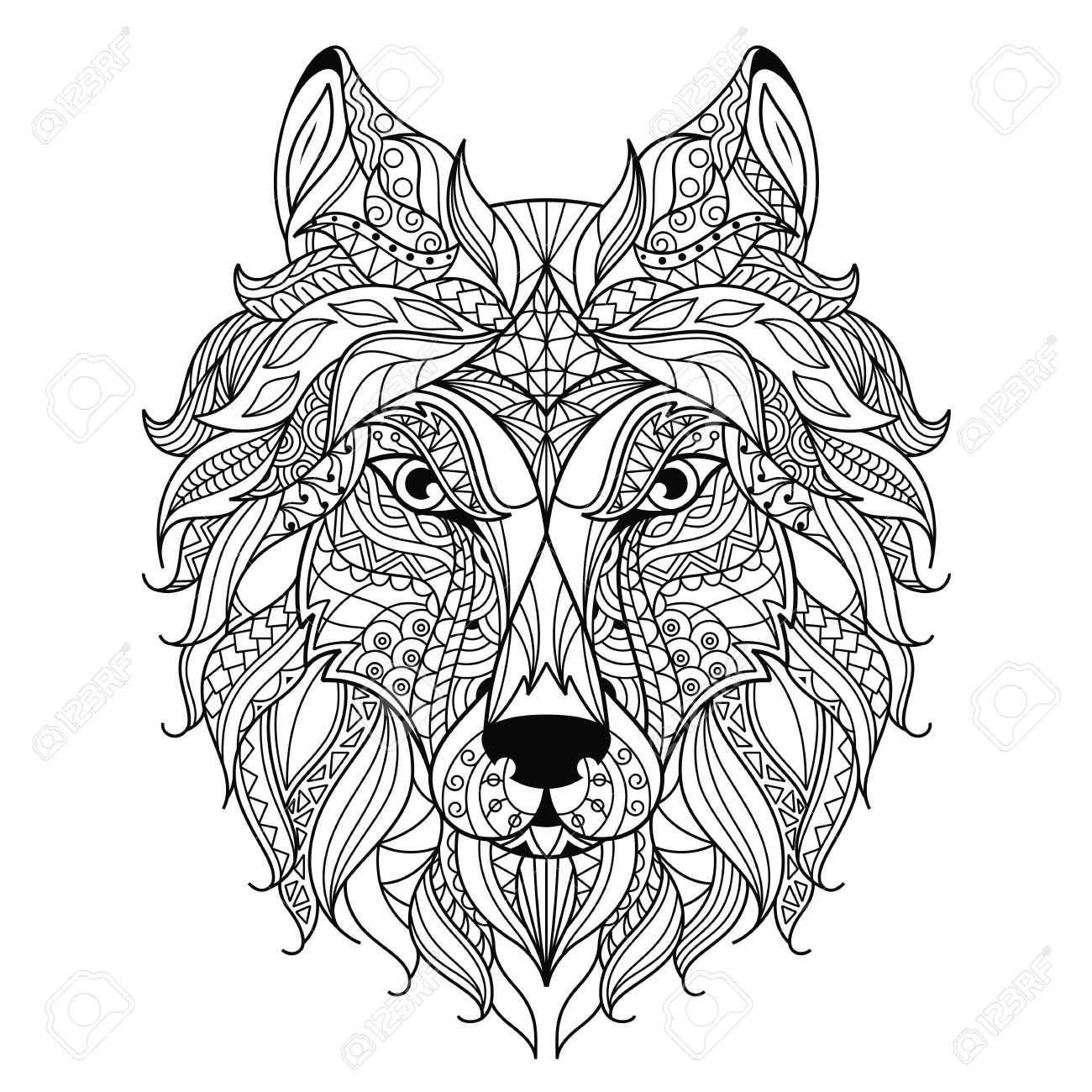 stylized wolf head isolated on white background image for
