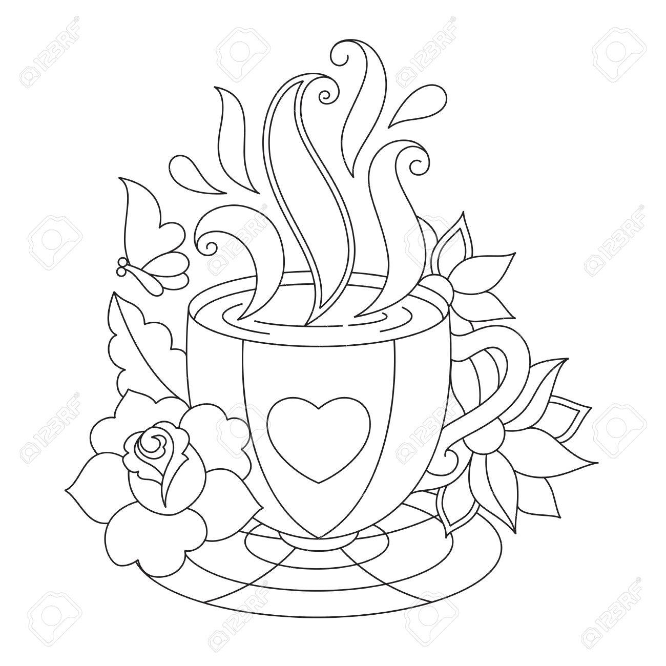 Coffee Or Tea Cup Coloring Pages Stylized Illustration For