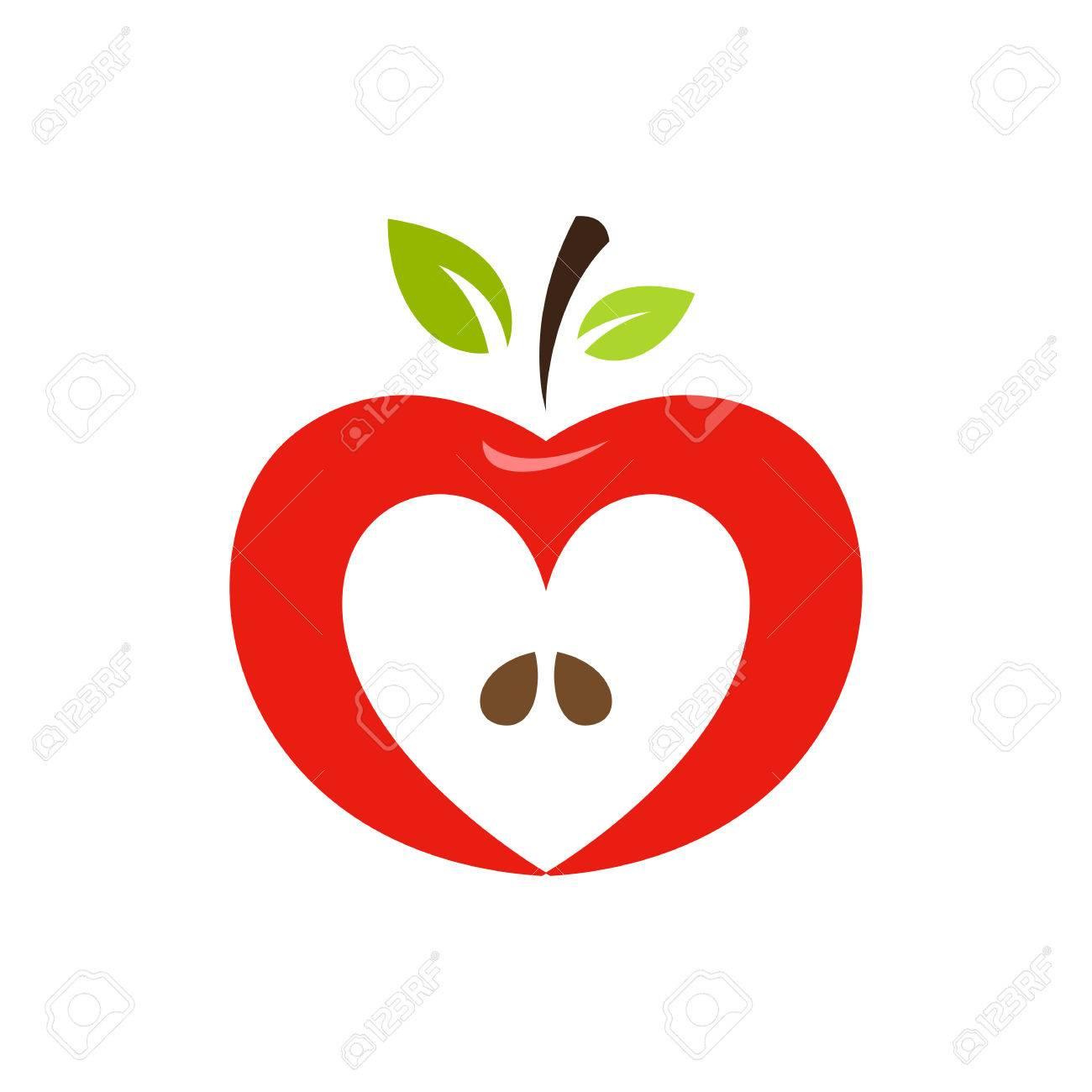 Logotipo De Vector De Manzana En Forma De Corazón, Etiqueta, Diseño ...