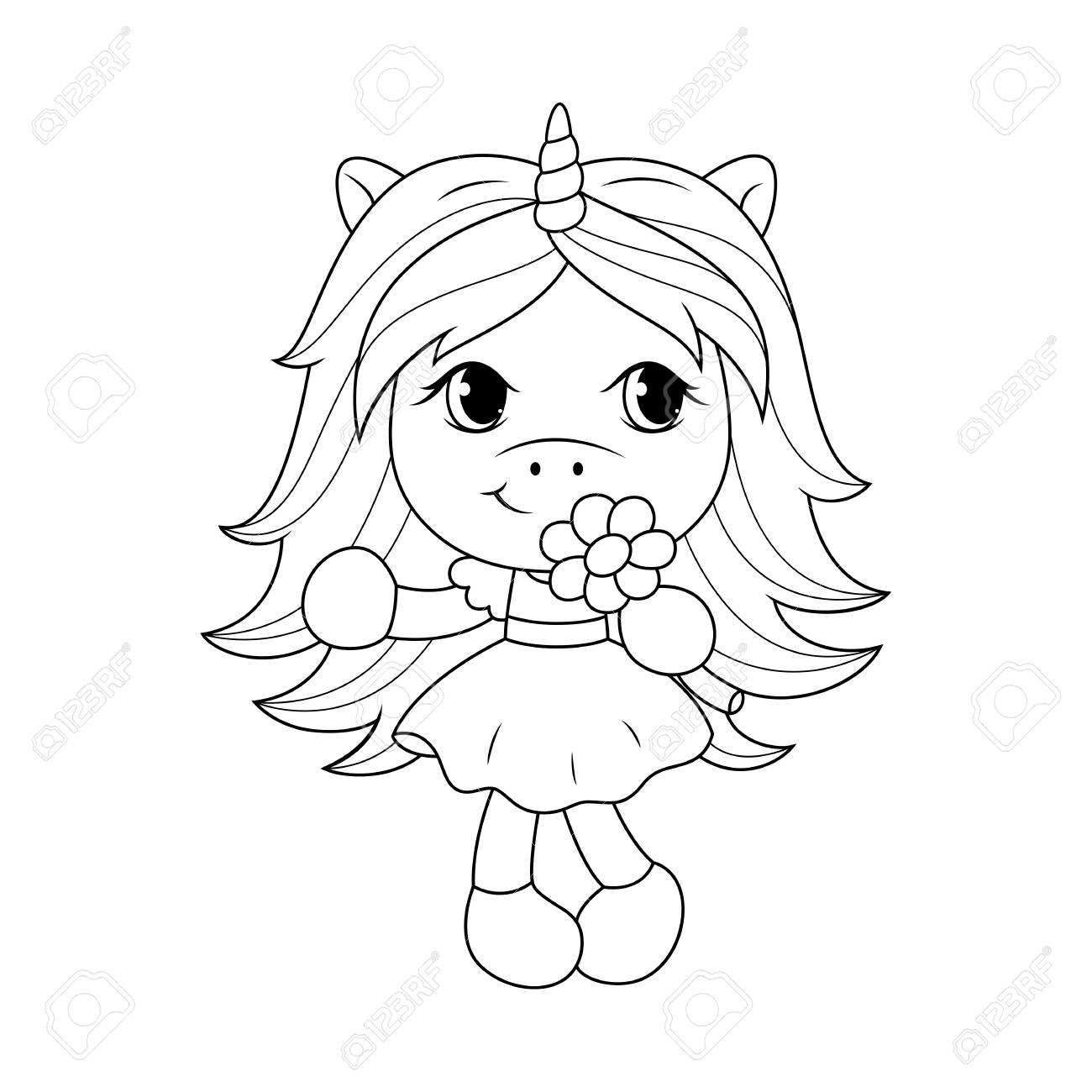 Cute Baby Unicorn Holding Flower Coloring Page For Girls Vector