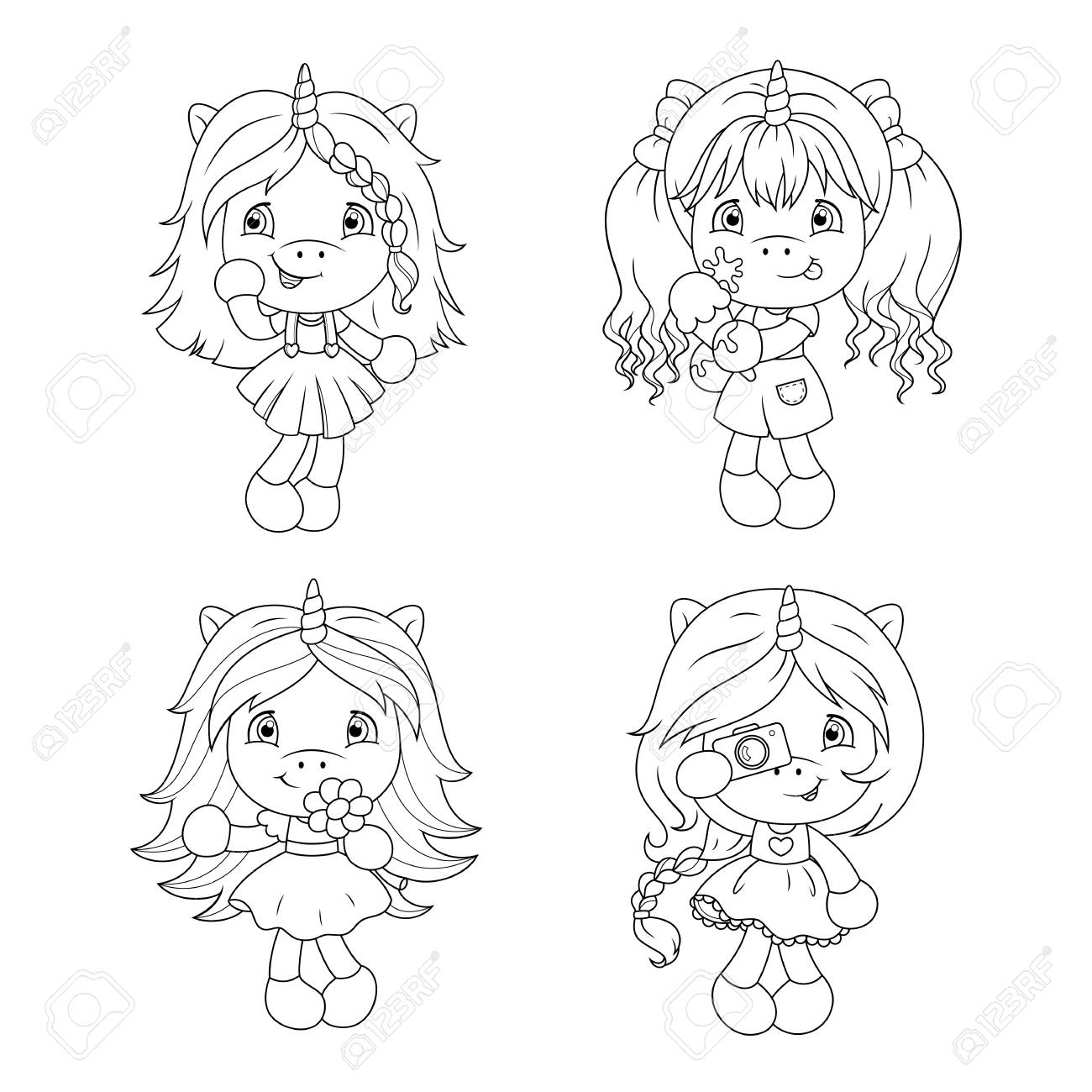 Cute Baby Unicorns Coloring Page For Girls Vector Illustration