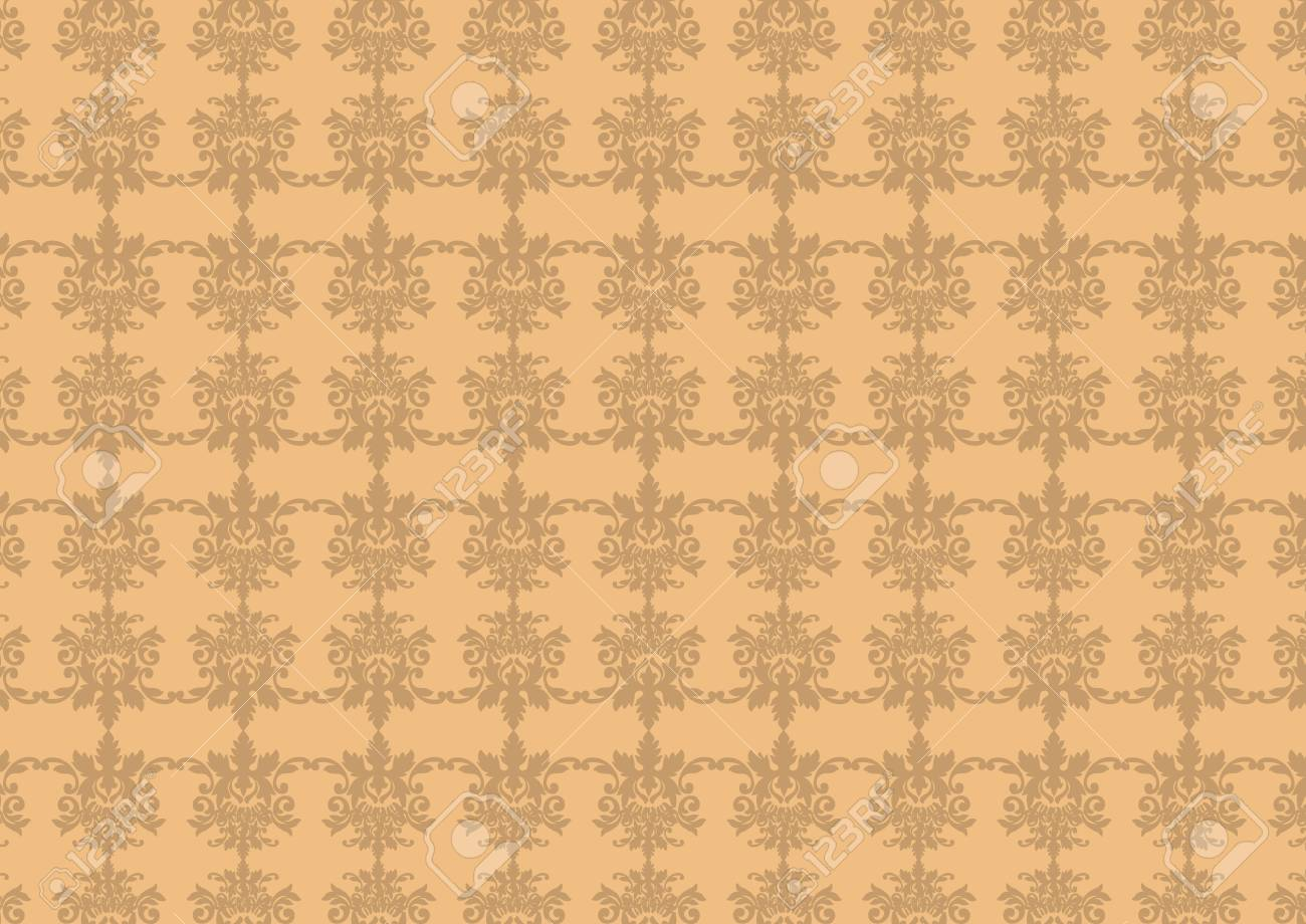 Vector illustraition of brown  retro abstract floral Pattern background Stock Vector - 3882036