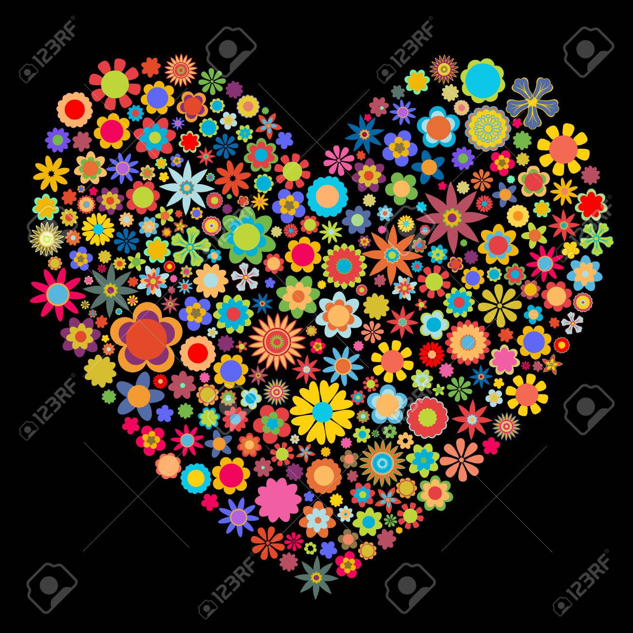 Vector illustration of heart  pattern made up of flower shapeson the black  background. Good  for Valentine Cards. Stock Vector - 3943852
