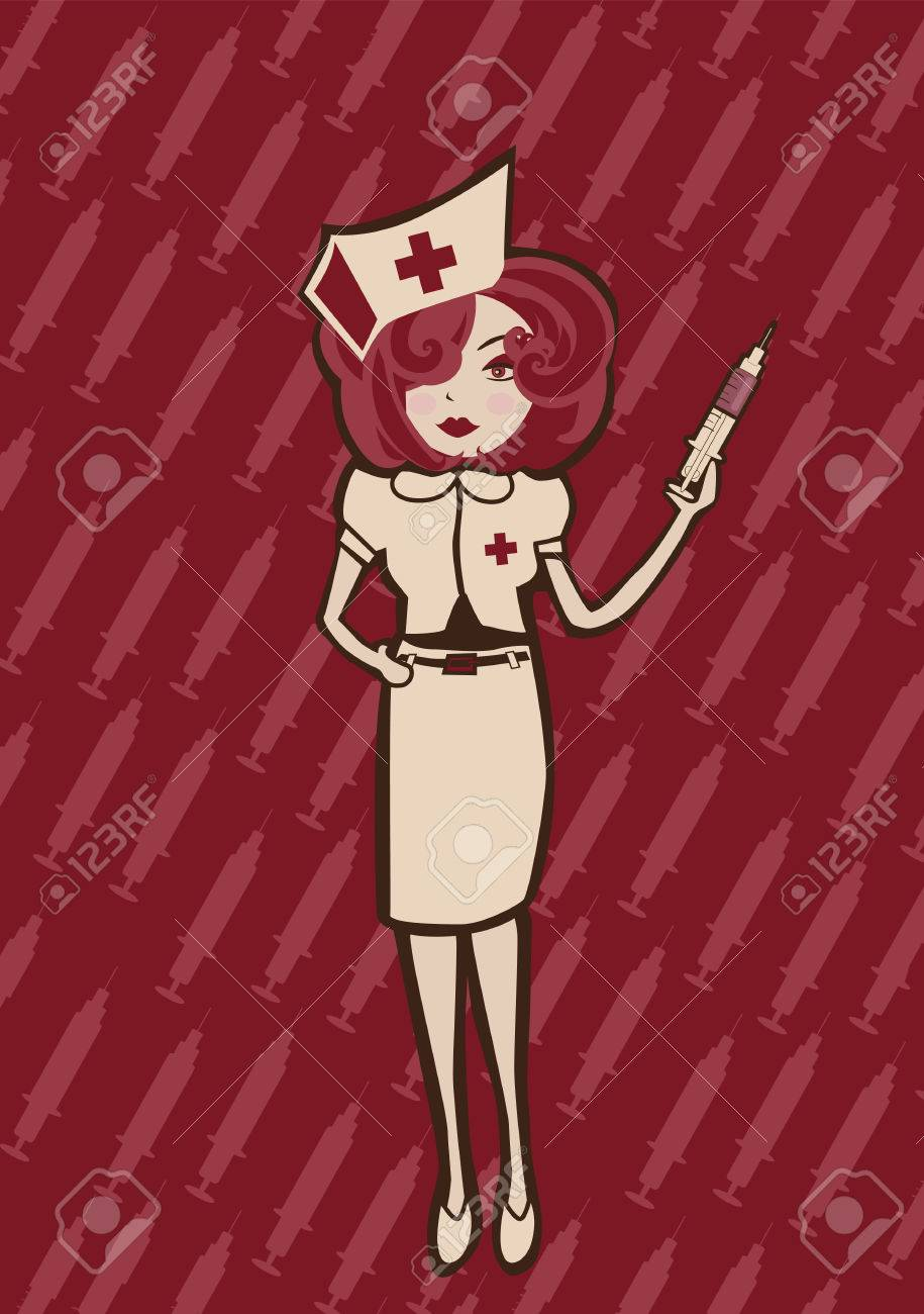 Vector illustration of  cool Attractive and sexy nurse ready to take care of you Stock Vector - 3943879