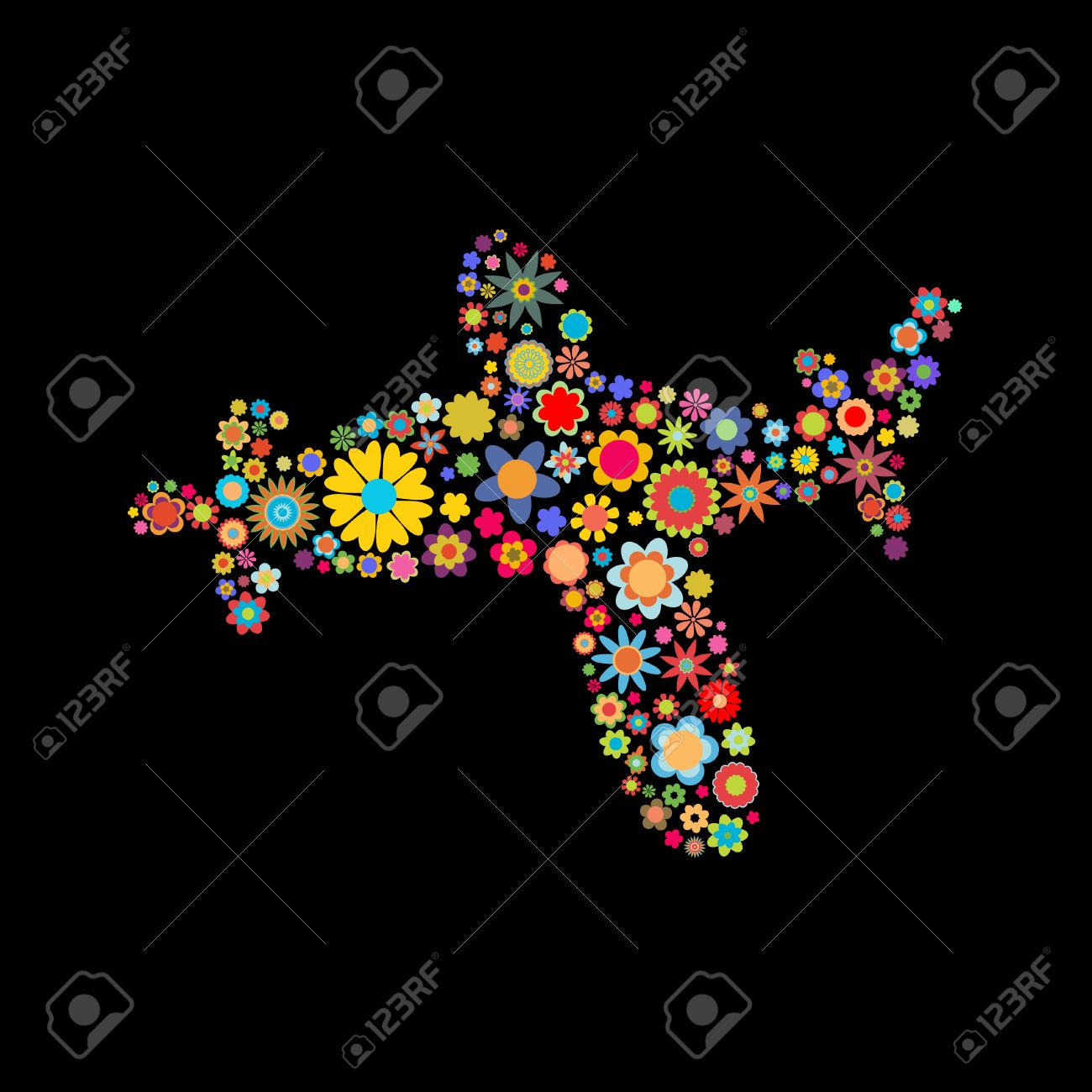 Vector illustration of airplane shape made up a lot of  multicolored small flowers on the black background Stock Vector - 4002721