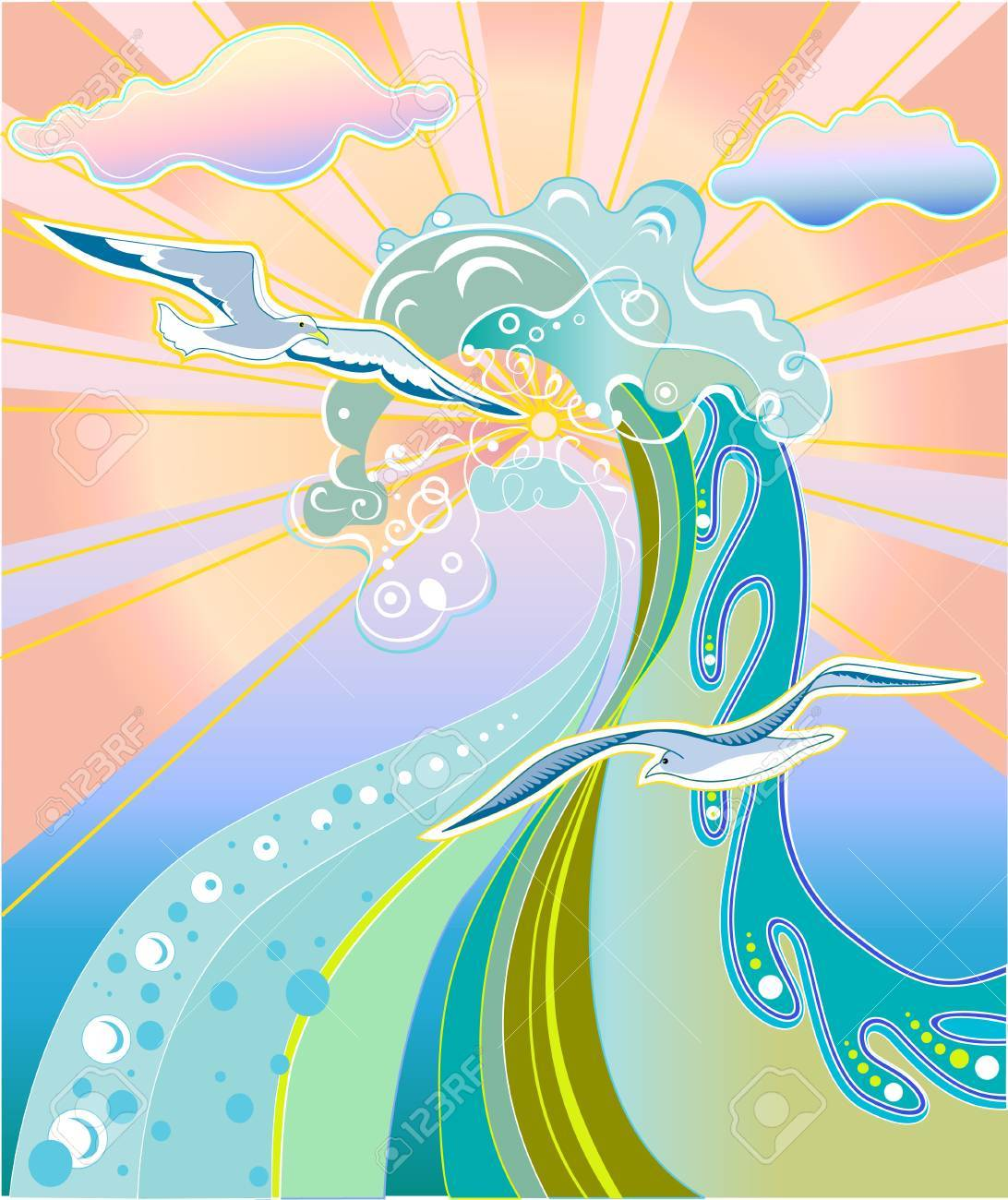 Vector illustration of  summer concept with waves, birds and sunshine. Stock Vector - 4002697