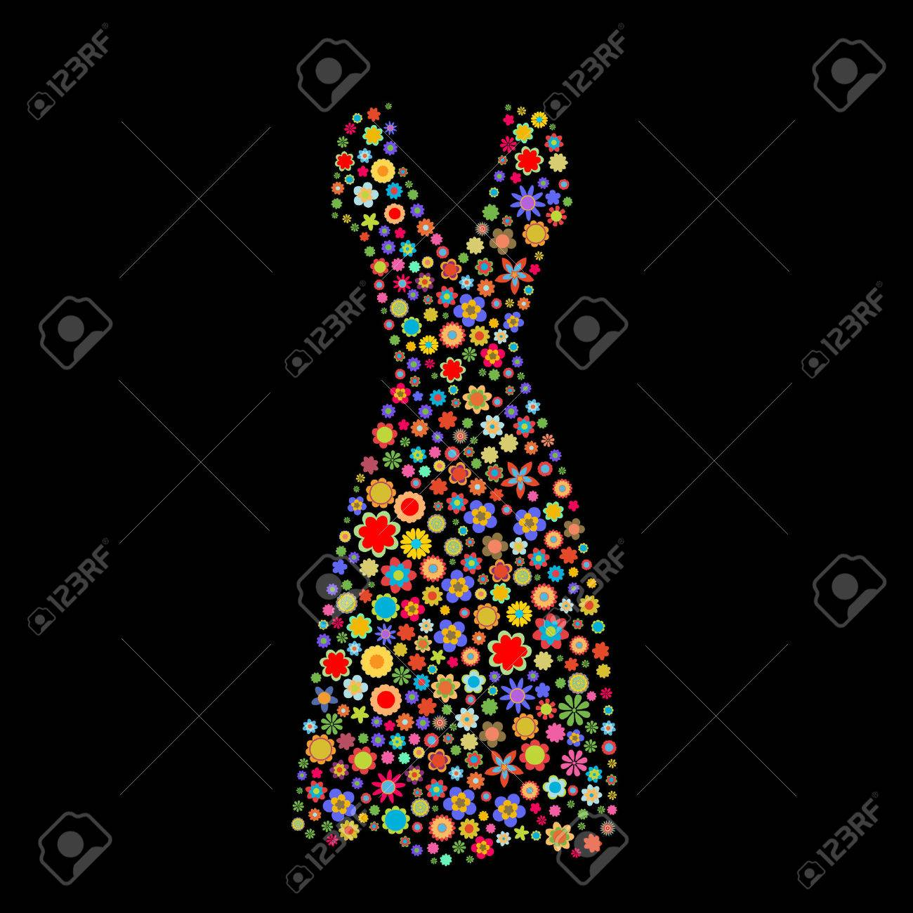 Vector illustration of women dress shape  made up a lot of  multicolored small flowers on the black background Stock Vector - 4002792