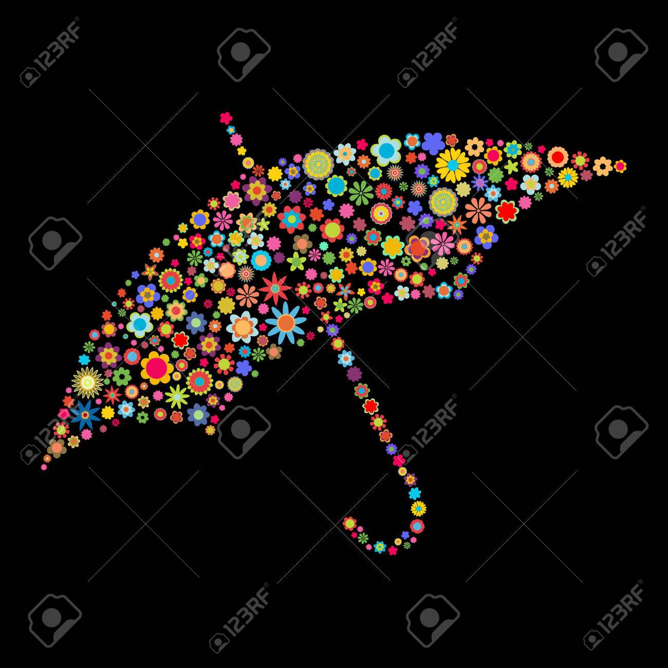 Vector illustration of umbrella shape  made up a lot of  multicolored small flowers on the black background Stock Vector - 4002784