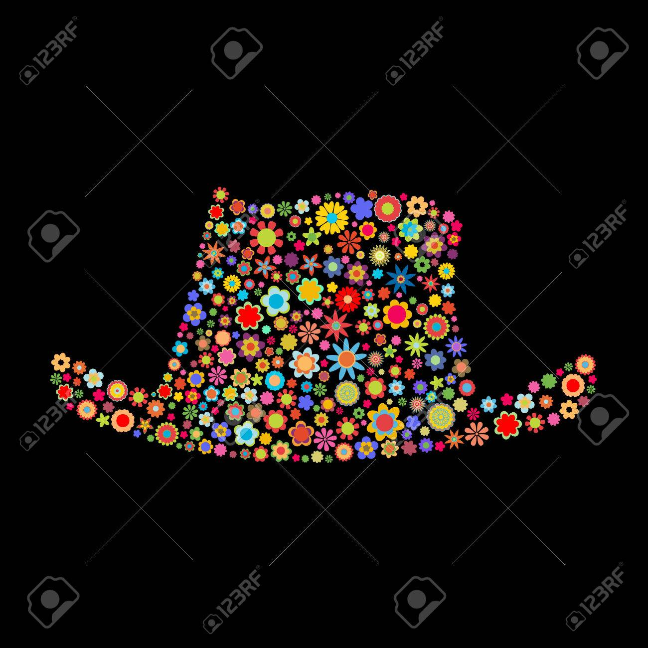Vector illustration of  hat shape  made up a lot of  multicolored small flowers on the black background Stock Vector - 4002786