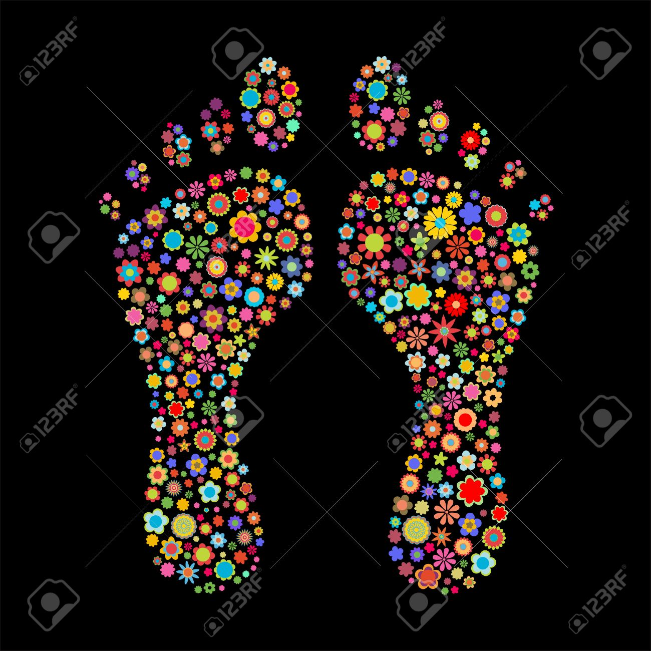 Vector illustration of footprint  shape  made up a lot of  multicolored small flowers on the black background Stock Vector - 4002794