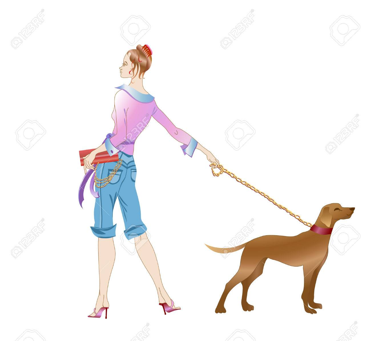 This is a vector illustration beautiful girl with big dog Stock Vector - 4055940