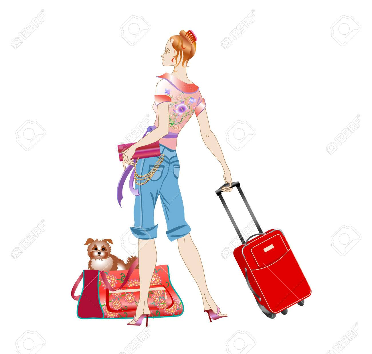 Vector illustration of young women holding the suitcase during her traveling with the dog. - 4055949