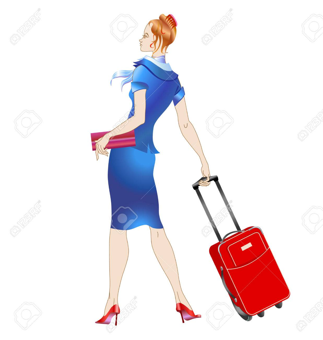 Vector illustration of women stewardess, walking with the suitcase. Stock Vector - 4055930