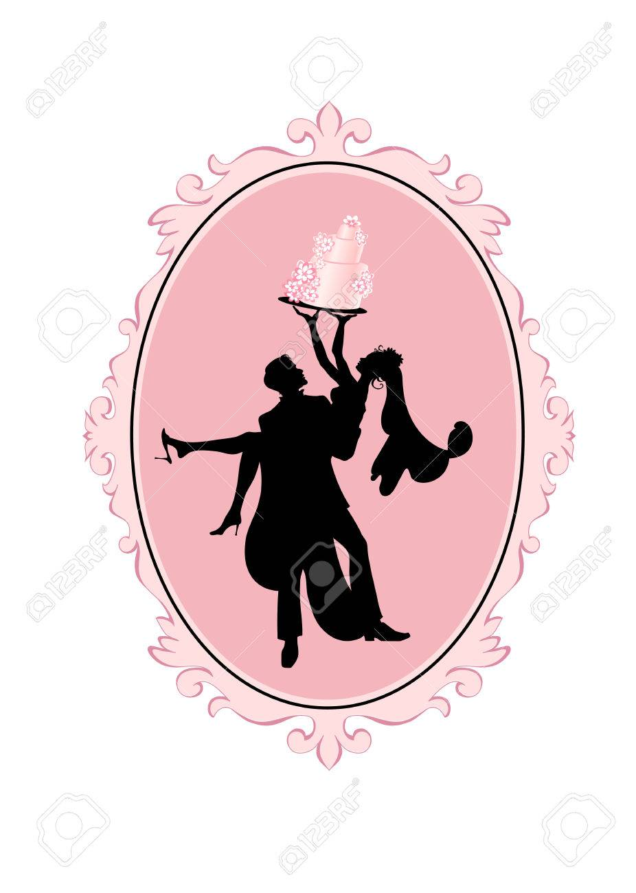 Vector Illustration Of Bride And Groom In Silhouette With Wedding ...