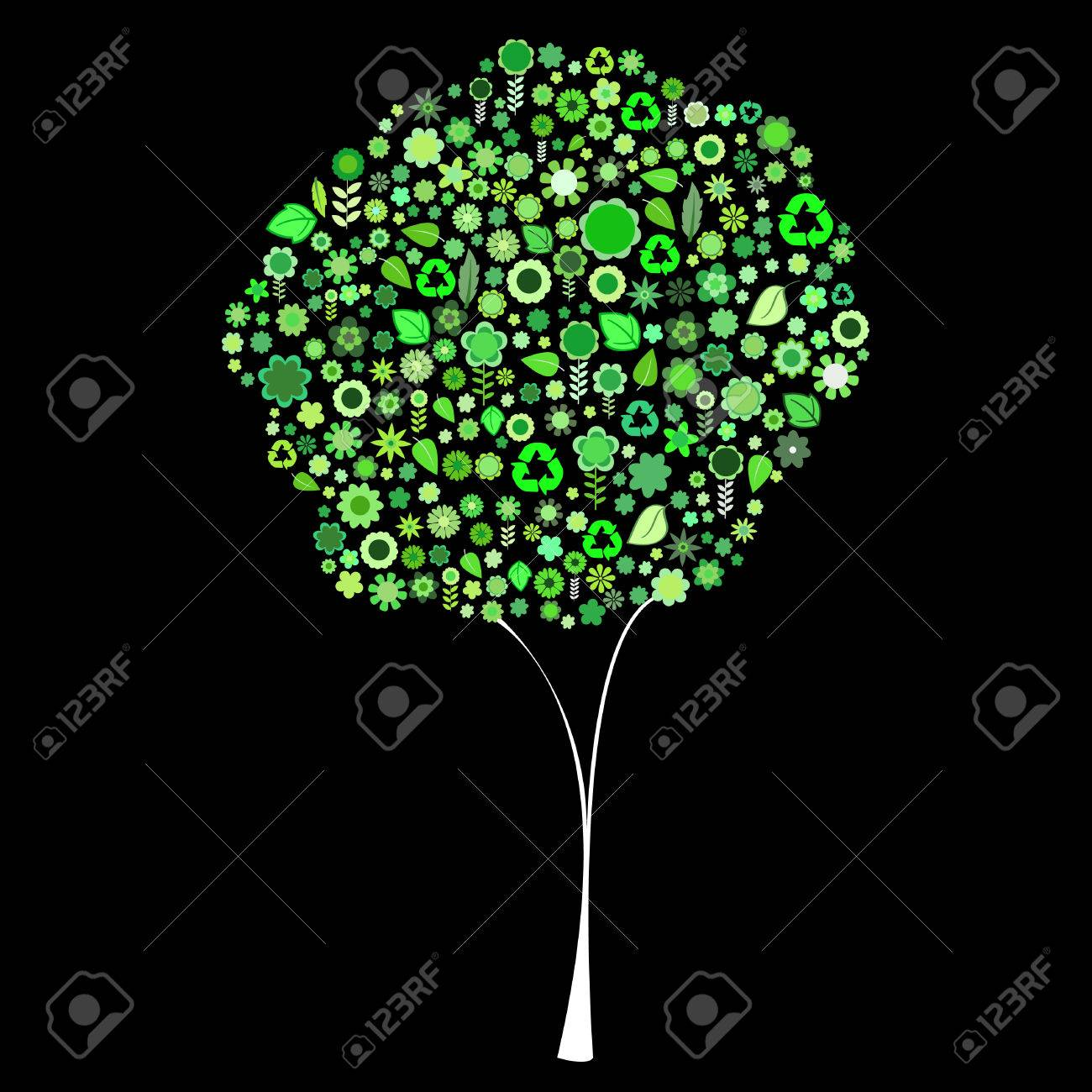 Vector illustration of tree shape made up a lot of  green small flowers and leaf on the black background Stock Vector - 4056064