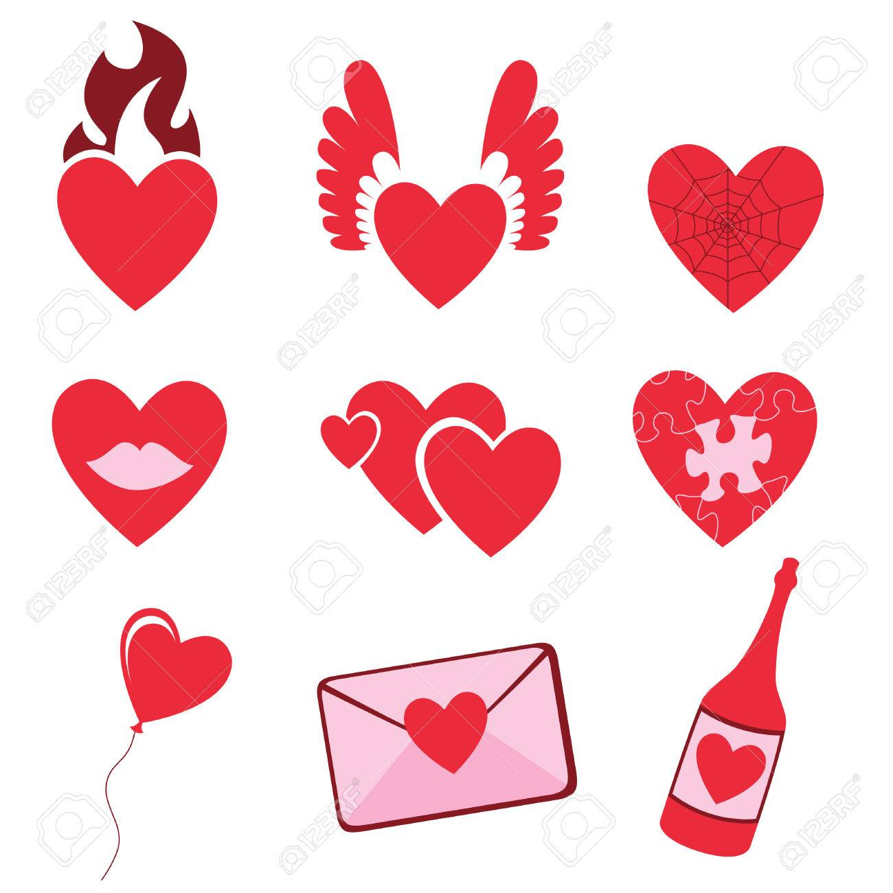 Vector illustration of Love icons.  Ideal for Valetine Cards decoration Stock Vector - 4618959