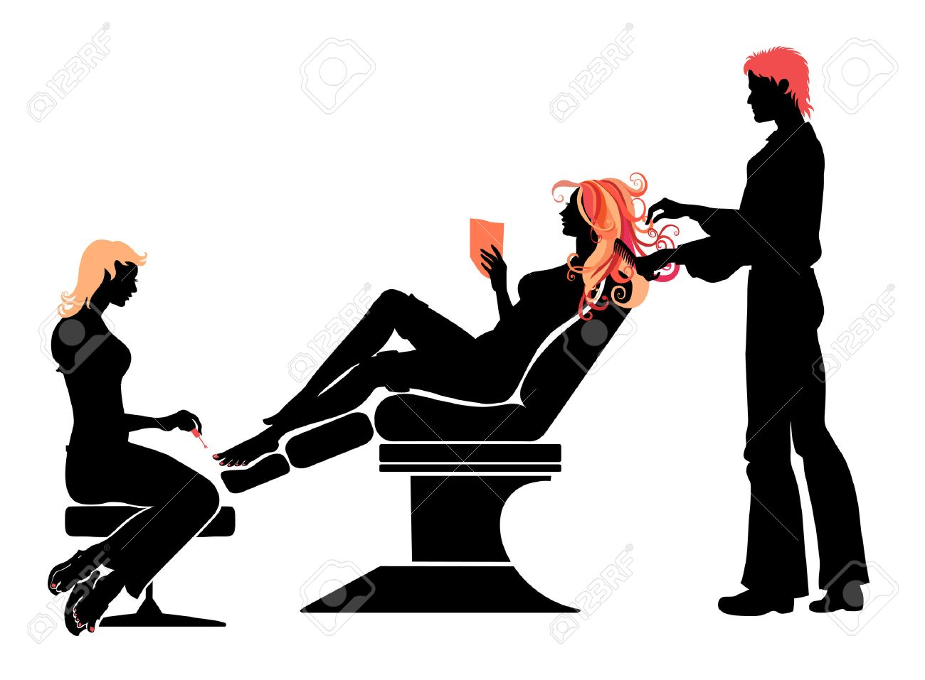 Vector illustration of the beautifull woman silhouette in hairdressing salon . Stock Vector - 4660643