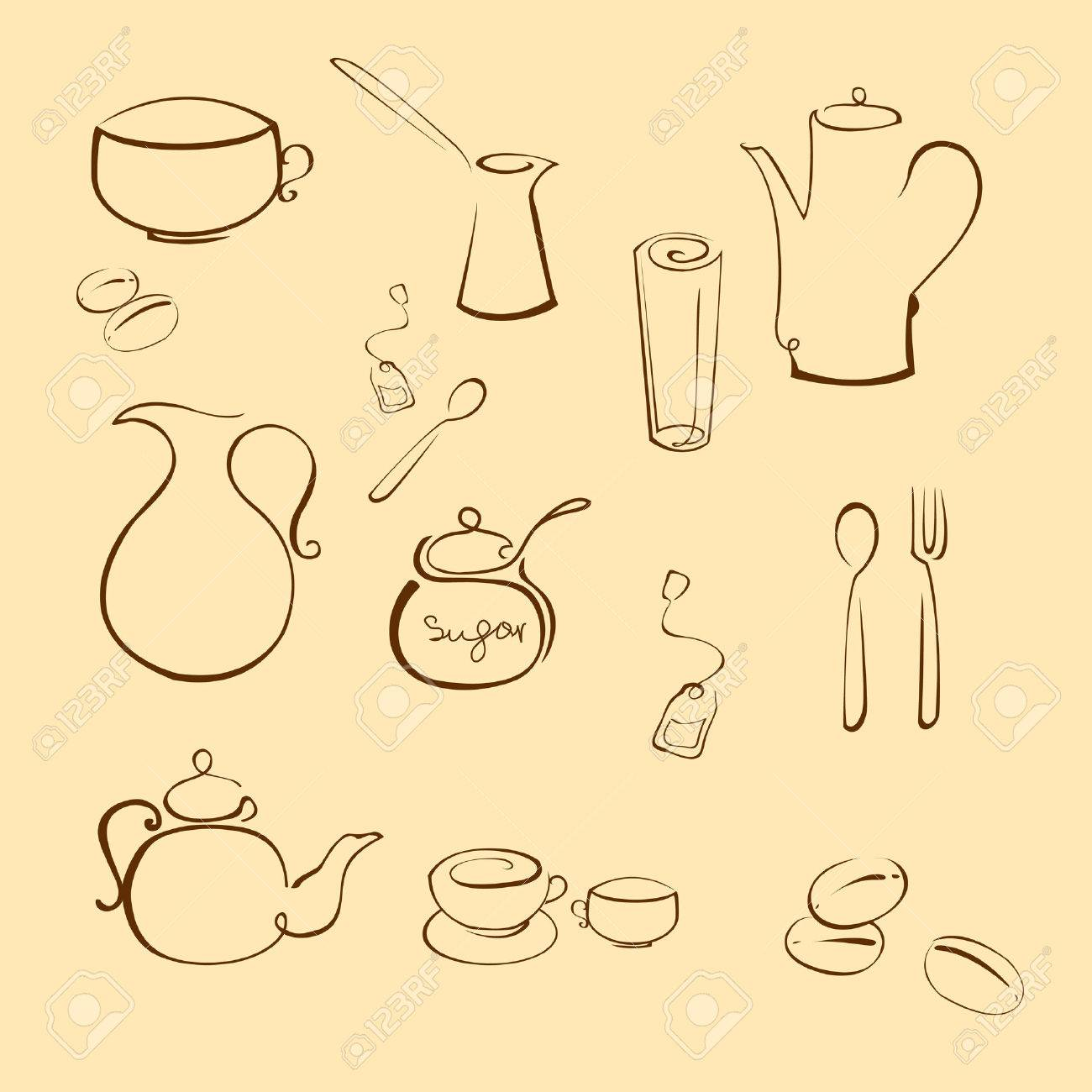 Vector illustraition of kitchen utensil Design Set made with simple line only Stock Vector - 4703608