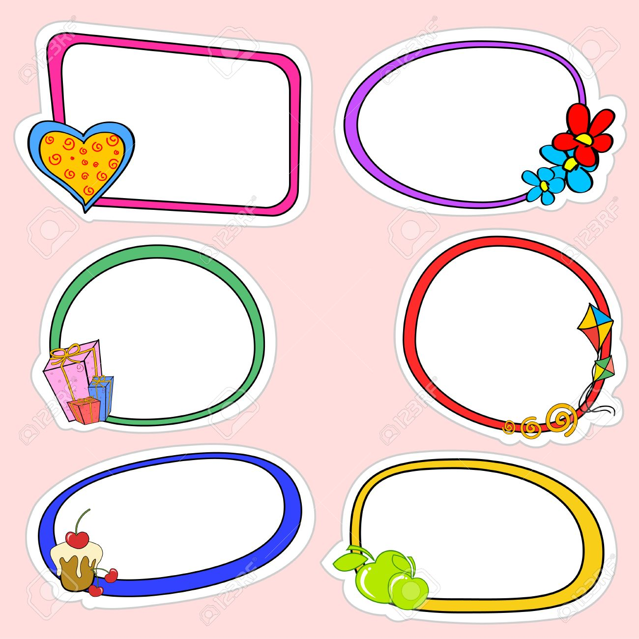Vector Illustration Of Cute Retro Frames On Stickers Style With ...